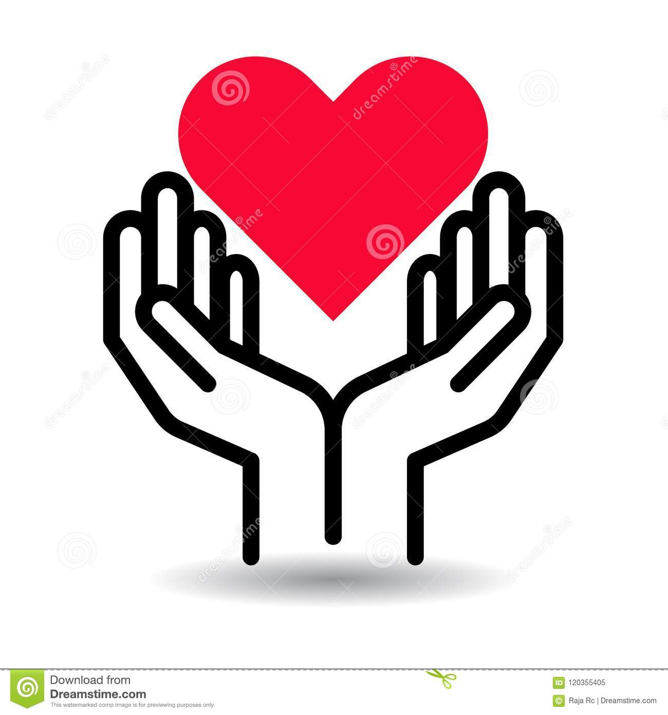 Red heart in hands icon