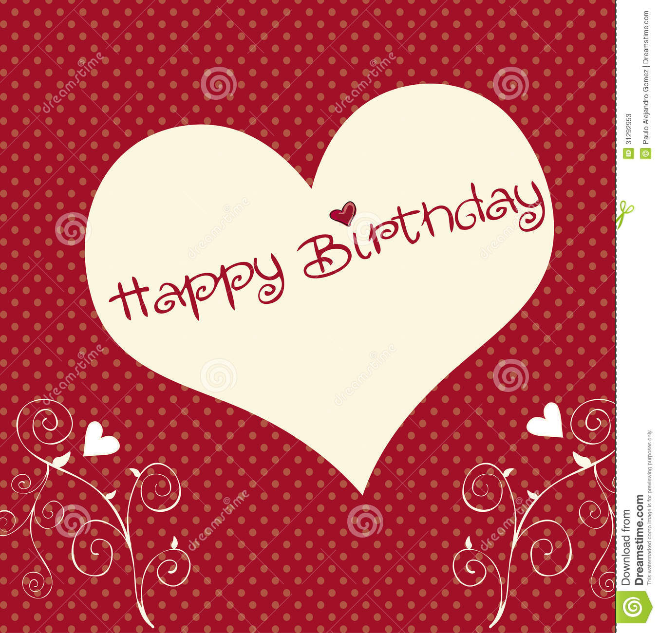 Heart happy birthday over dotted background vector illustration.
