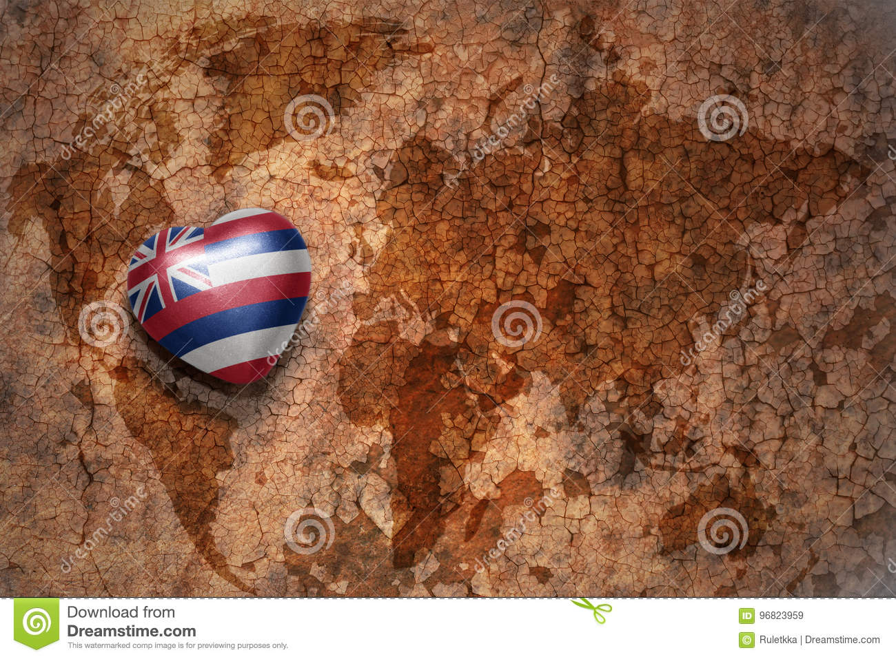 Heart with hawaii state flag on a vintage world map crack paper background