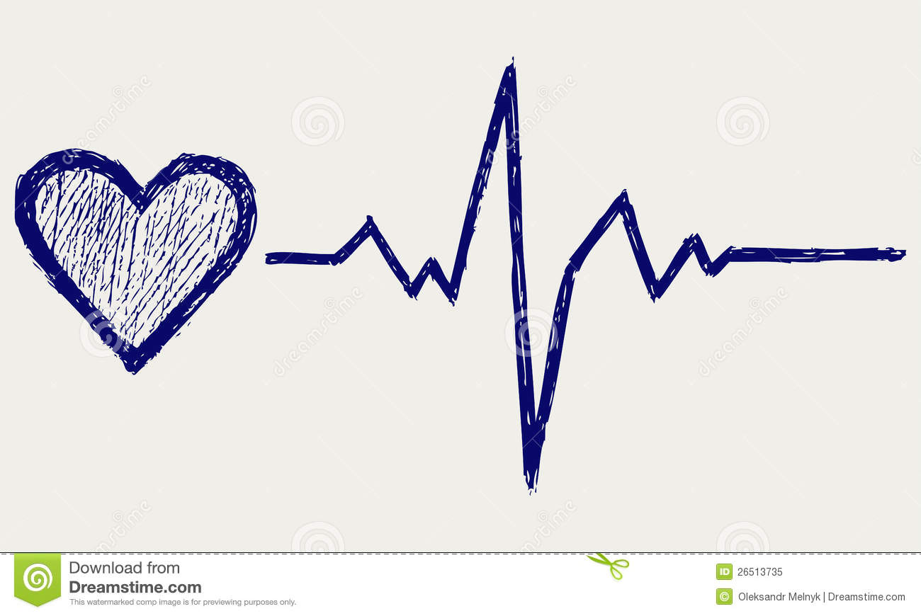 Heart And Heartbeat Symbol Stock Vector Illustration Of Drawing