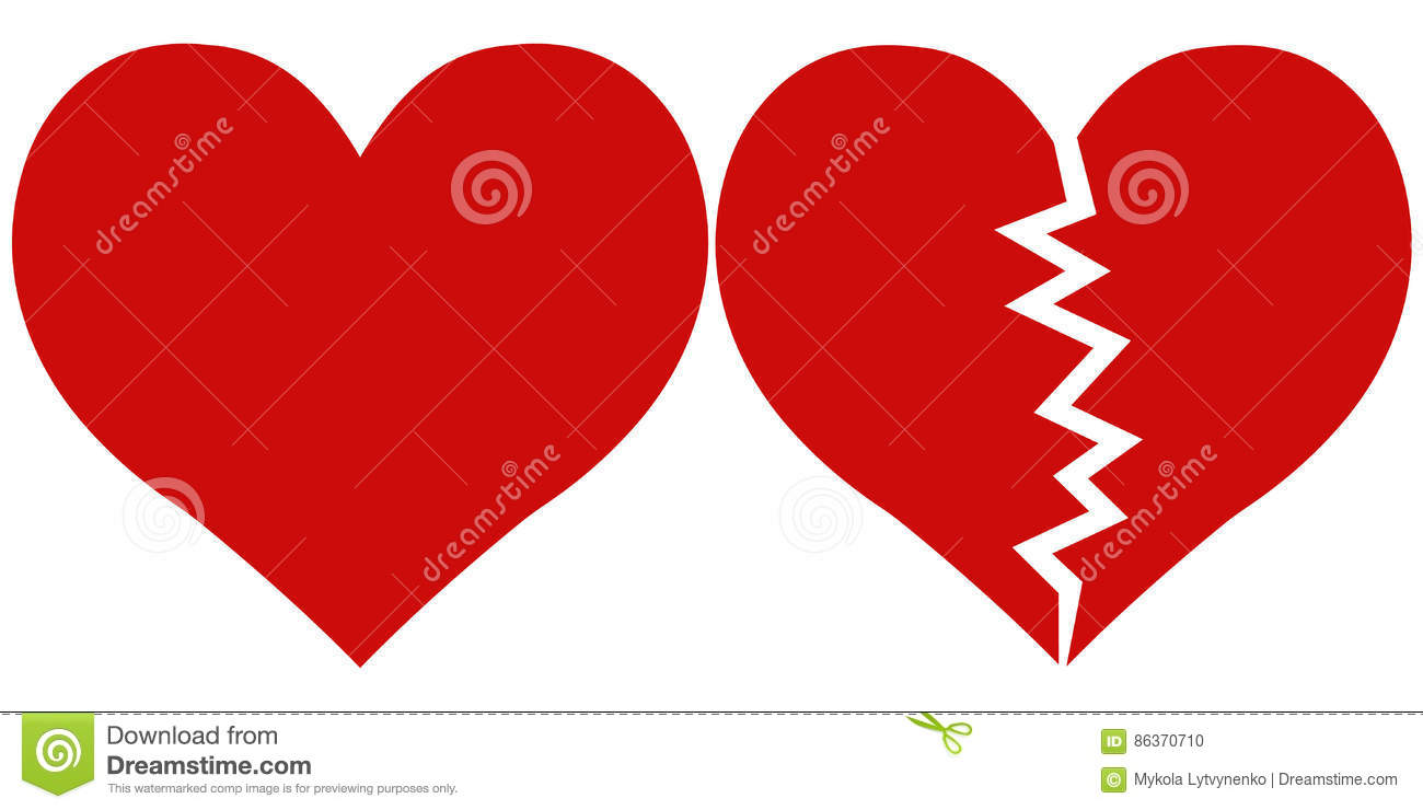 Heart And Heartbreak Love And Parting Stock Vector Illustration