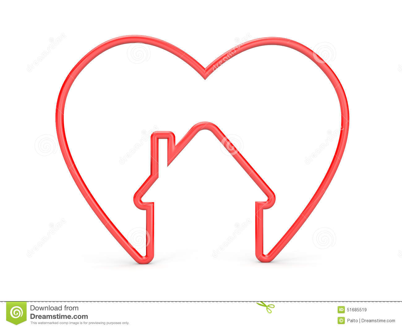 heart house shape symbol which shows us inside sweet home red 51685519
