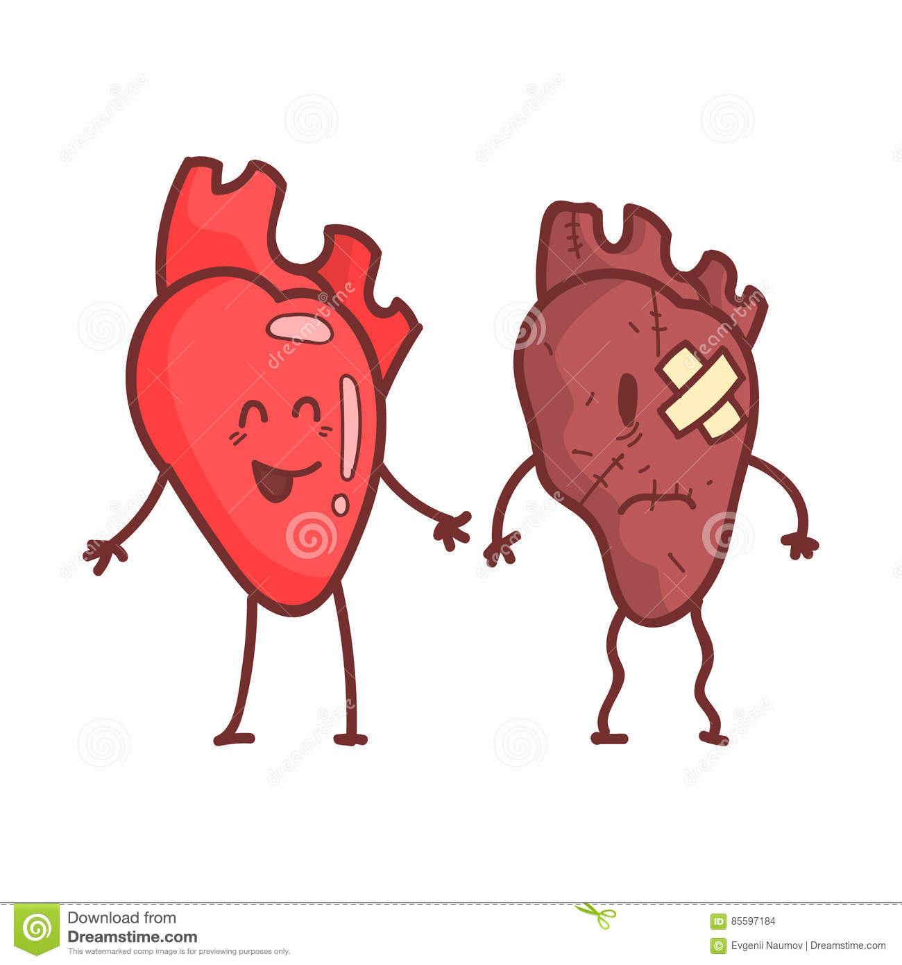 heart human internal organ healthy vs unhealthy medical