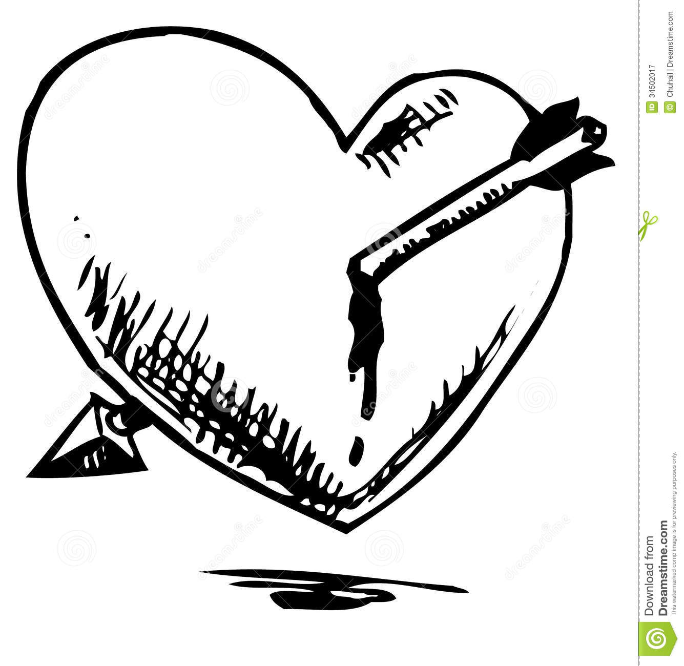 Heart Hurted With Arrow Stock Image. Image Of Elegance - 34502017