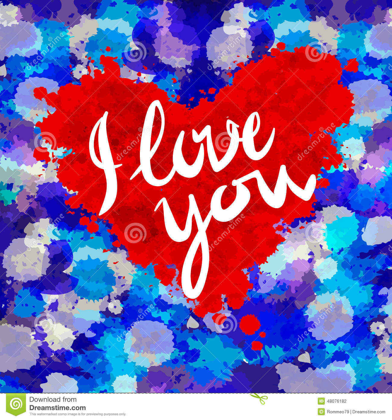 Heart i love you colorful paint splash stock vector for Happy color spray paint price