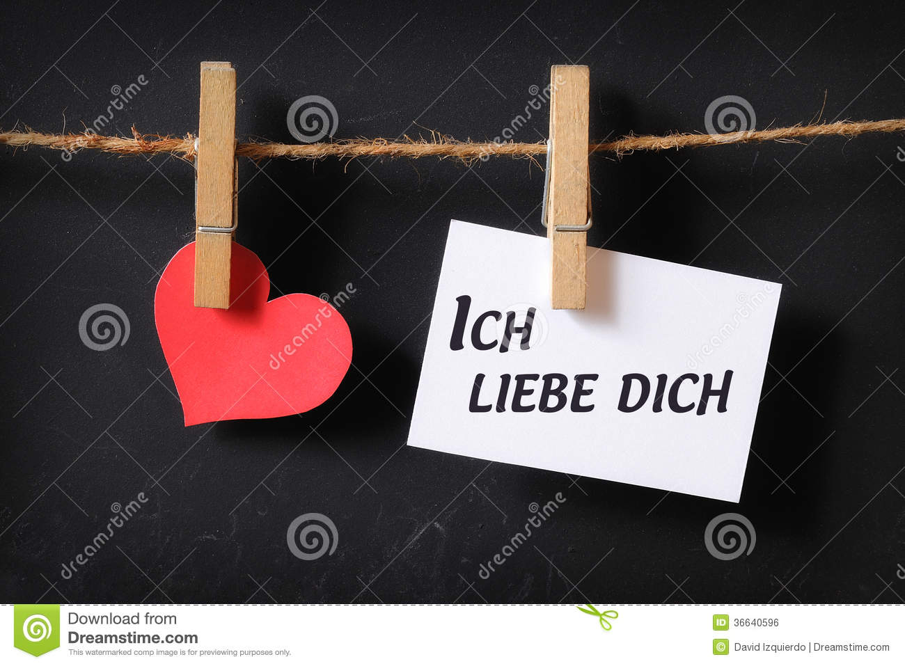 Heart With Ich Liebe Dich Poster Hanging Royalty Free