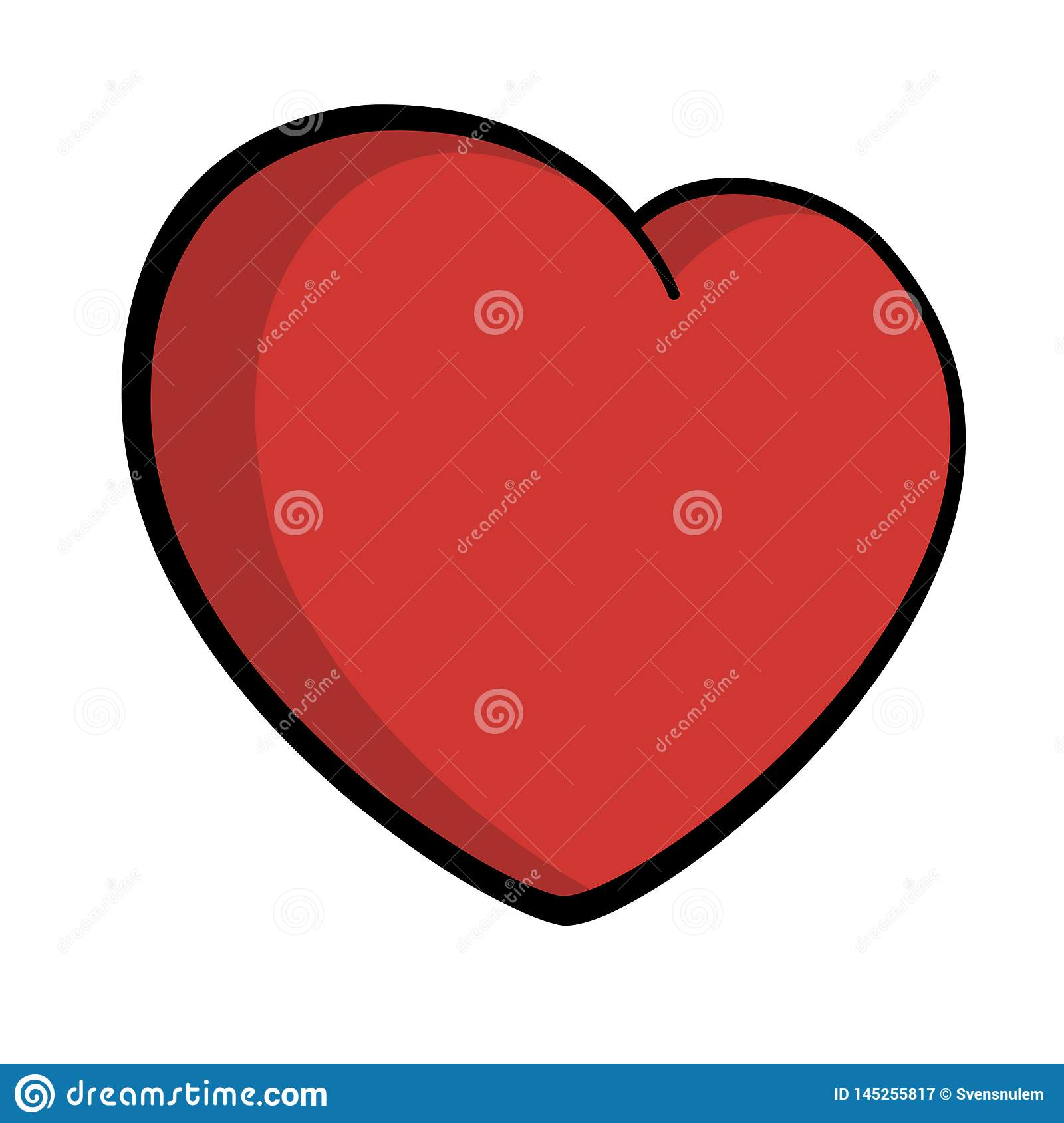 Heart Icon Big red black symbol love outlined shaded Valentine`s day Vector