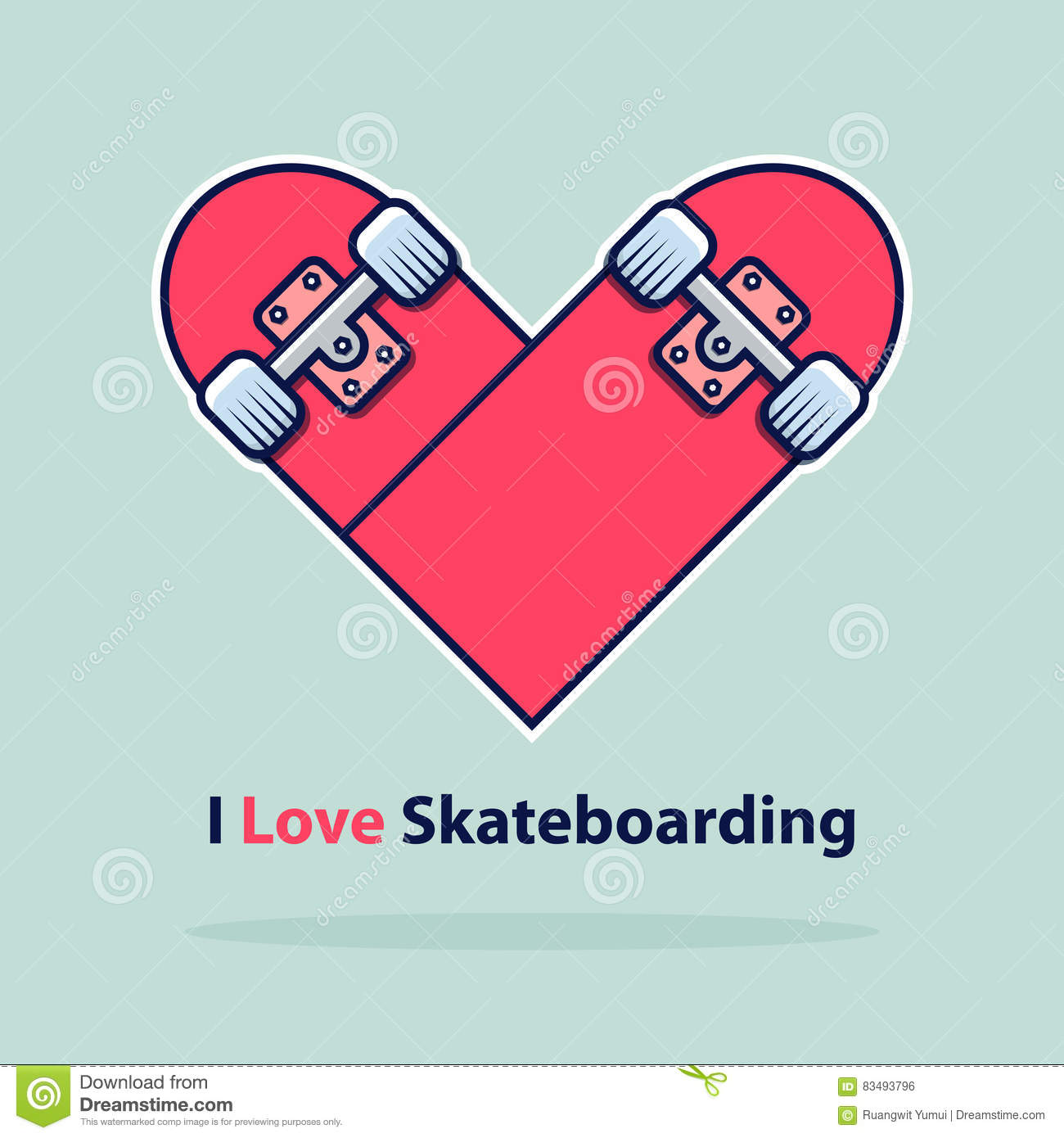 Heart icon in flat design. Love symbol. Valentine`s Day sign. Skateboarding logo isolated on blue background with shadow.