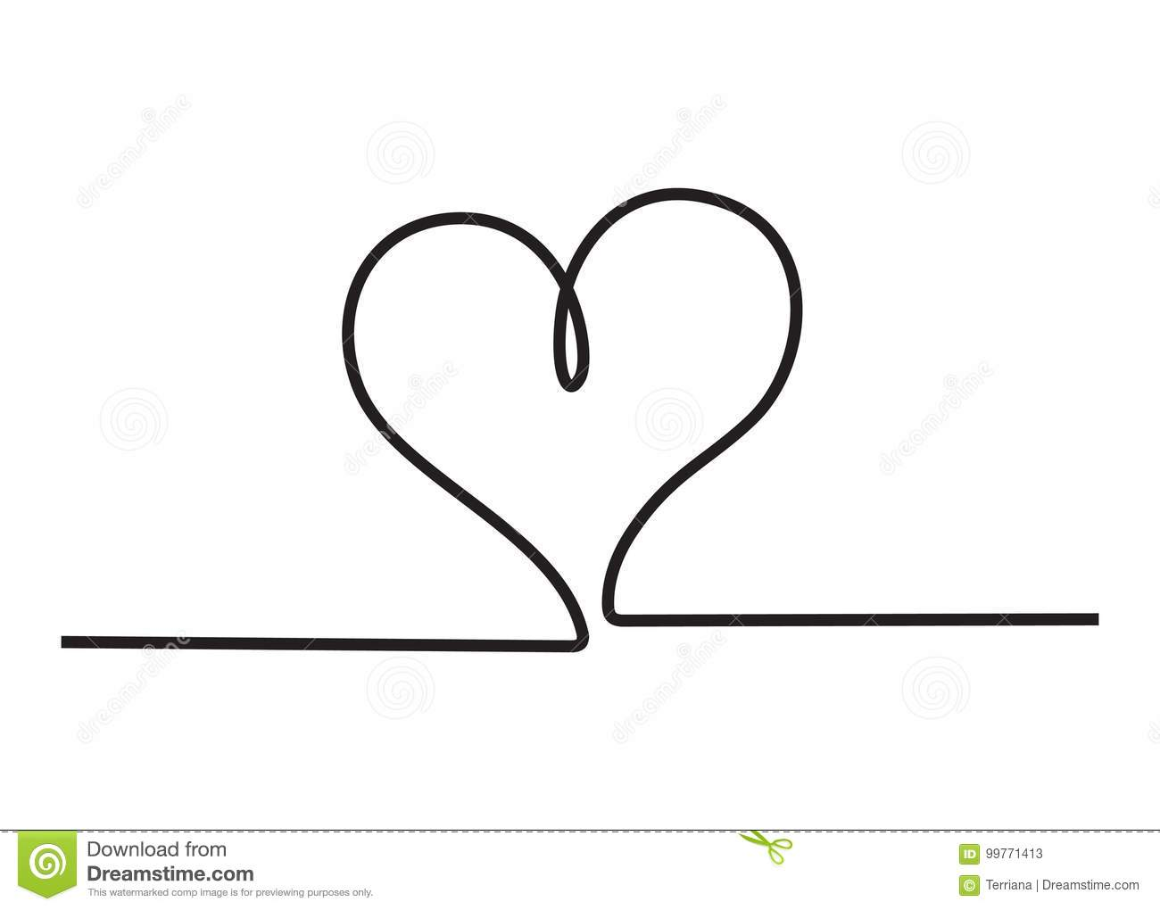 Line Art Love Heart : Heart icon stylish line art sign stock illustration