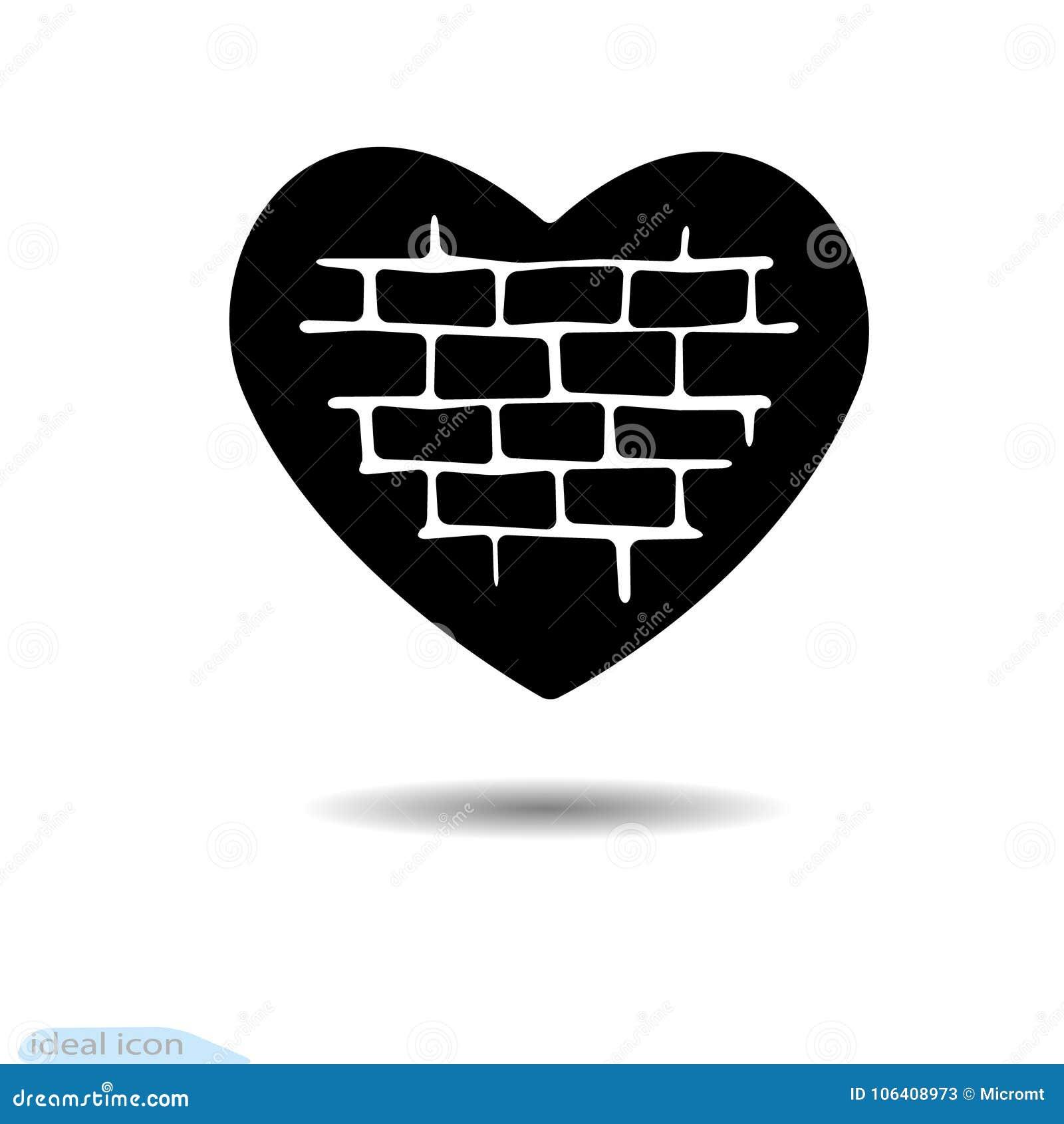 The Heart Icon A Symbol Of Love Valentine S Day Seam Brick Wall