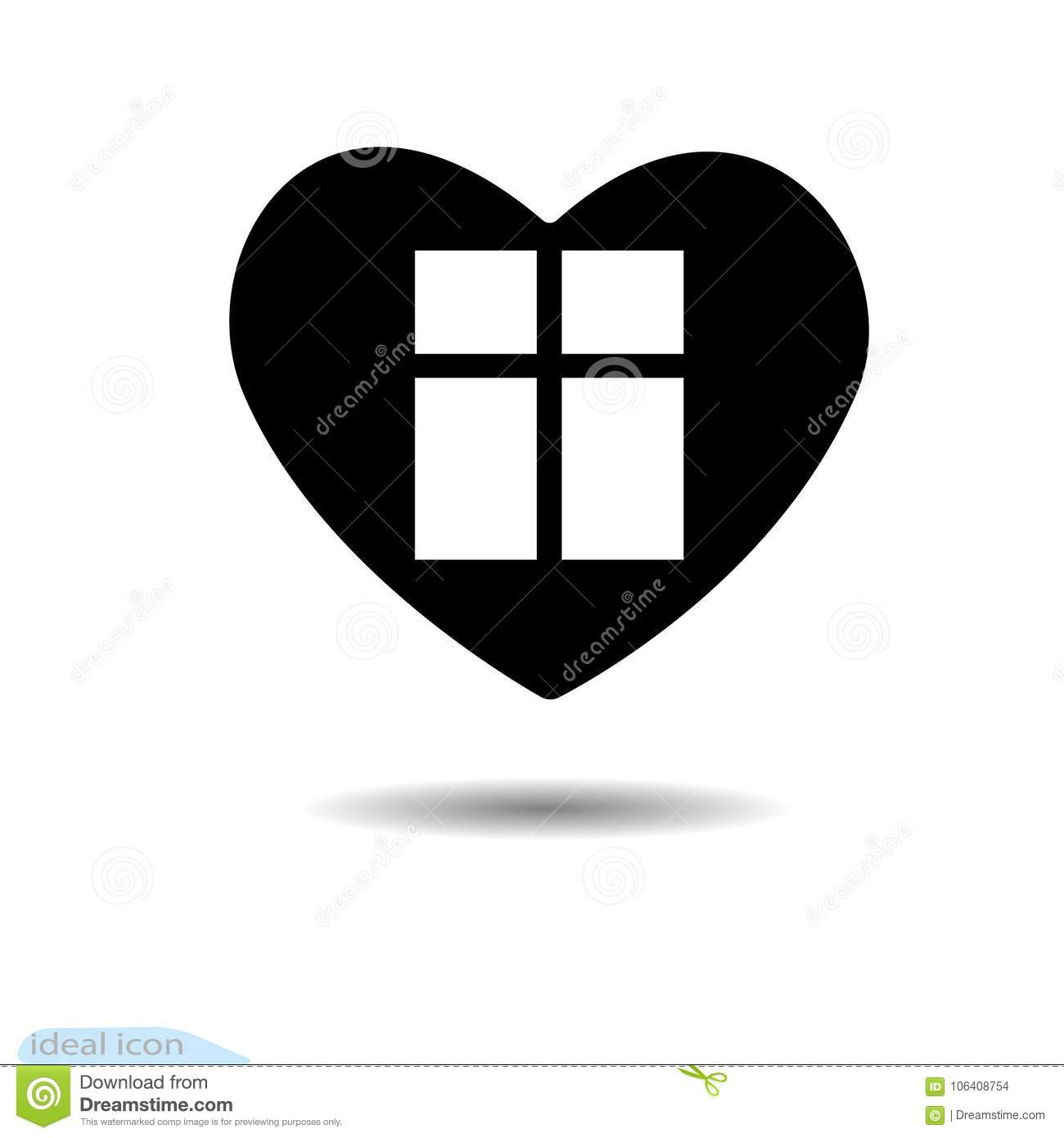 The Heart Icon A Symbol Of Love Valentine S Day Window Flat