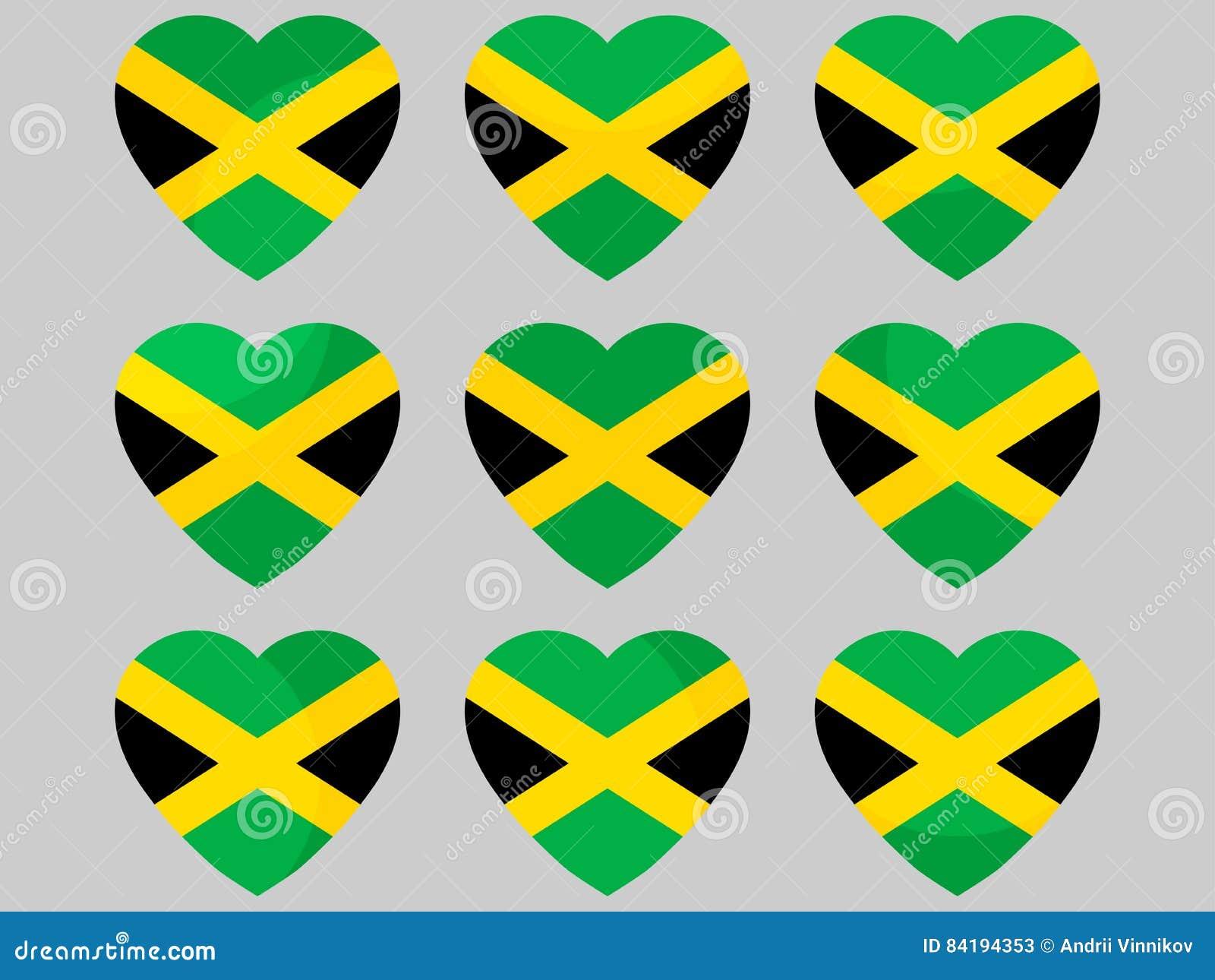 Heart with jamaican flag i love jamaica vector