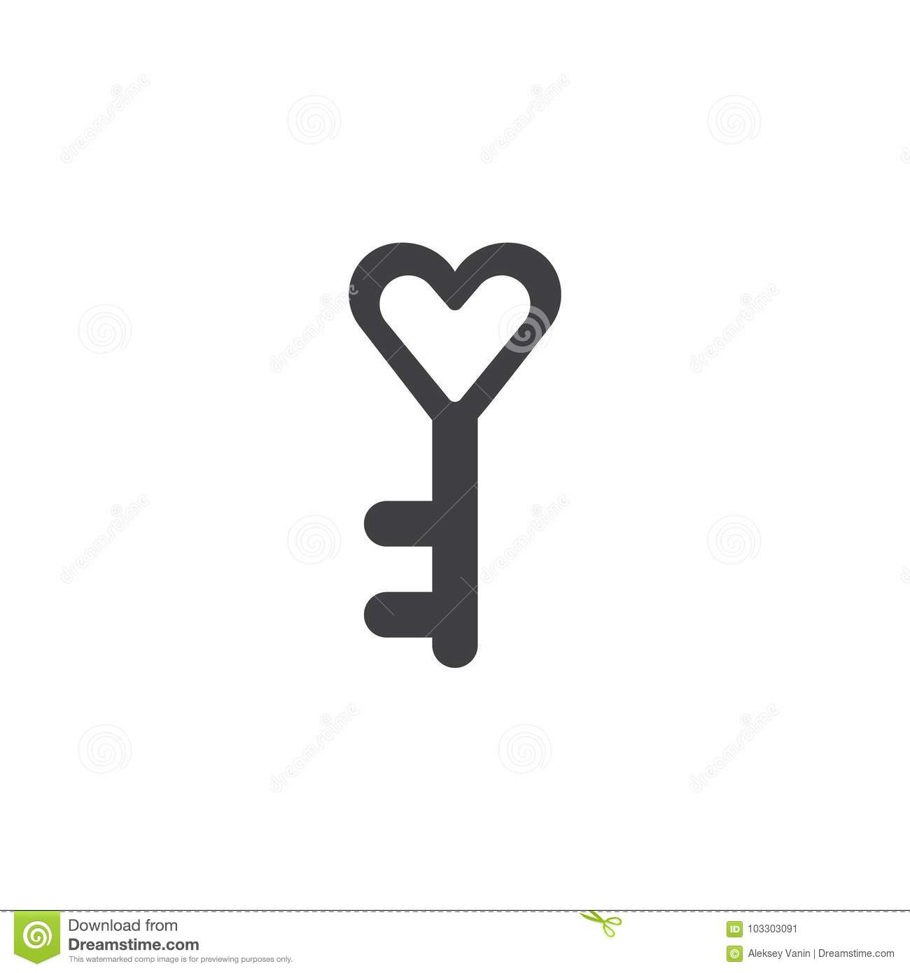 Heart Key Icon Vector Stock Vector Illustration Of Celebration