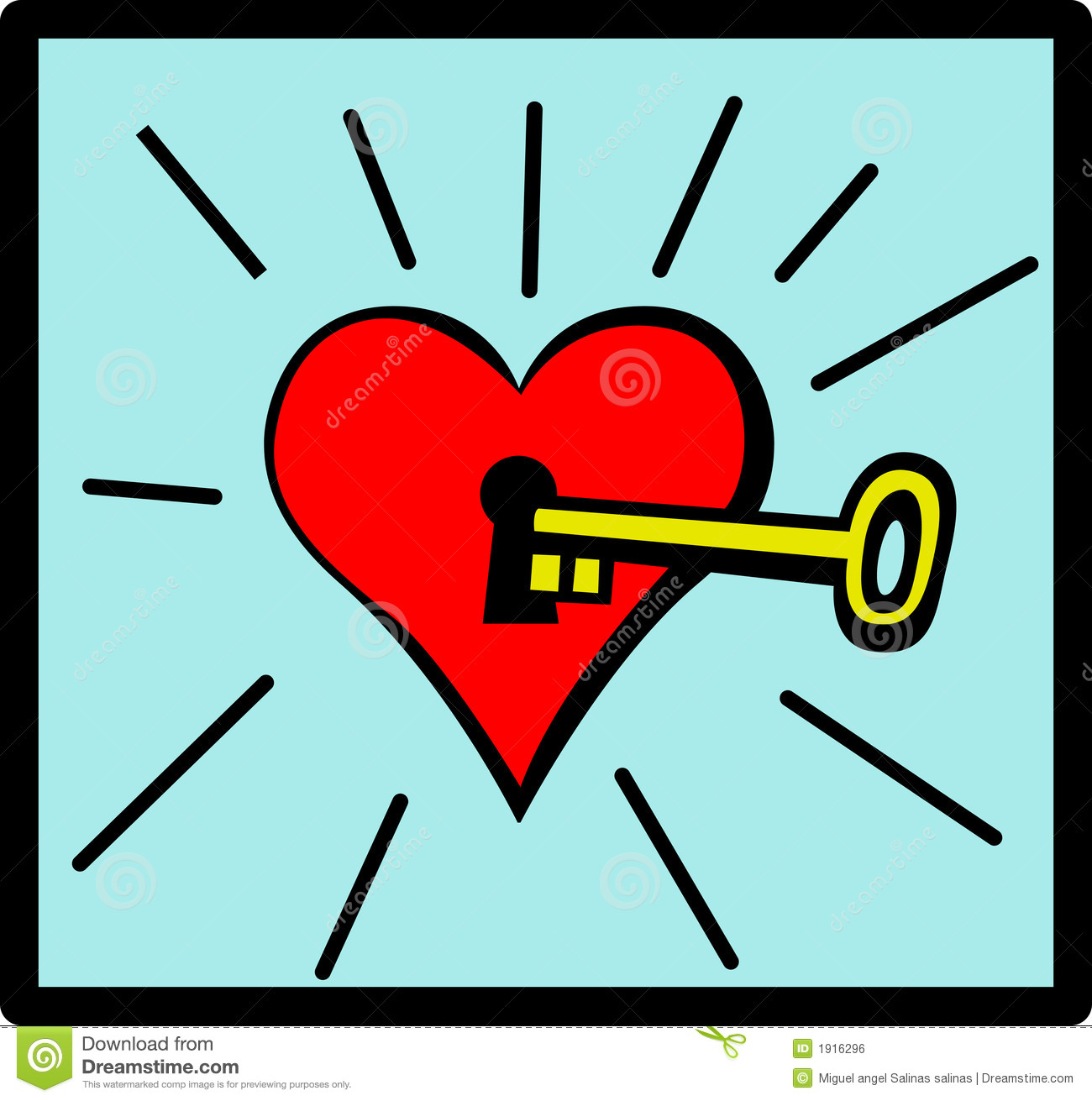 Vector Key Illustration: Heart With Keyhole And Key Vector Illustration Stock