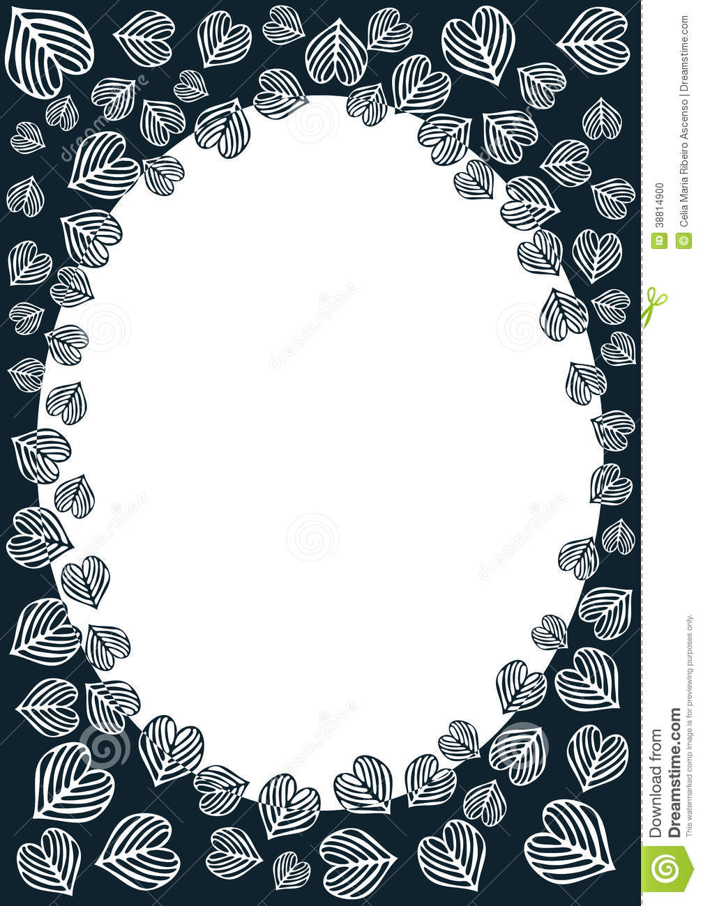 Heart Leaves Border Frame Illustration 38814900 - Megapixl