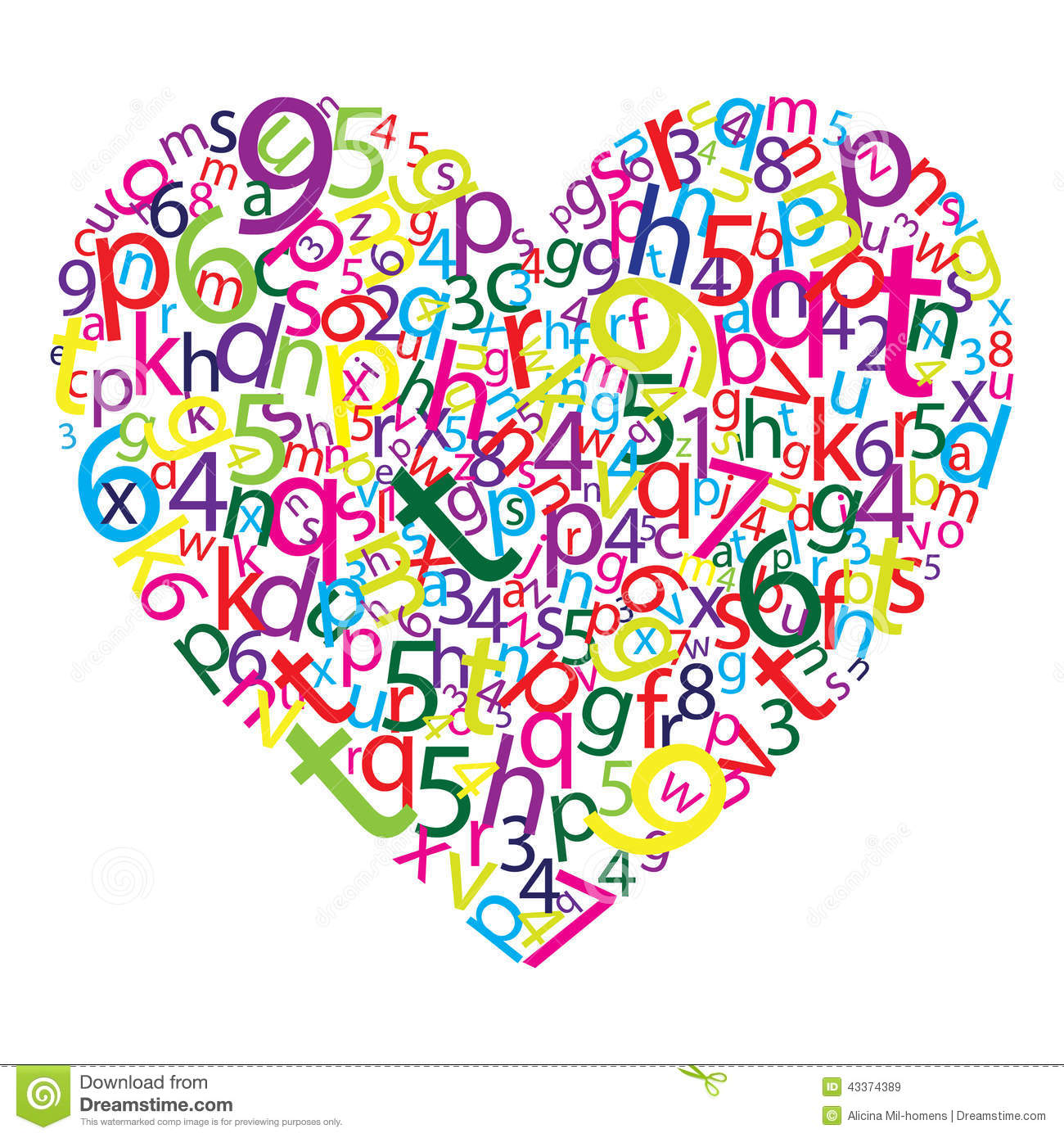 Heart Letters Stock Vector - Image: 43374389