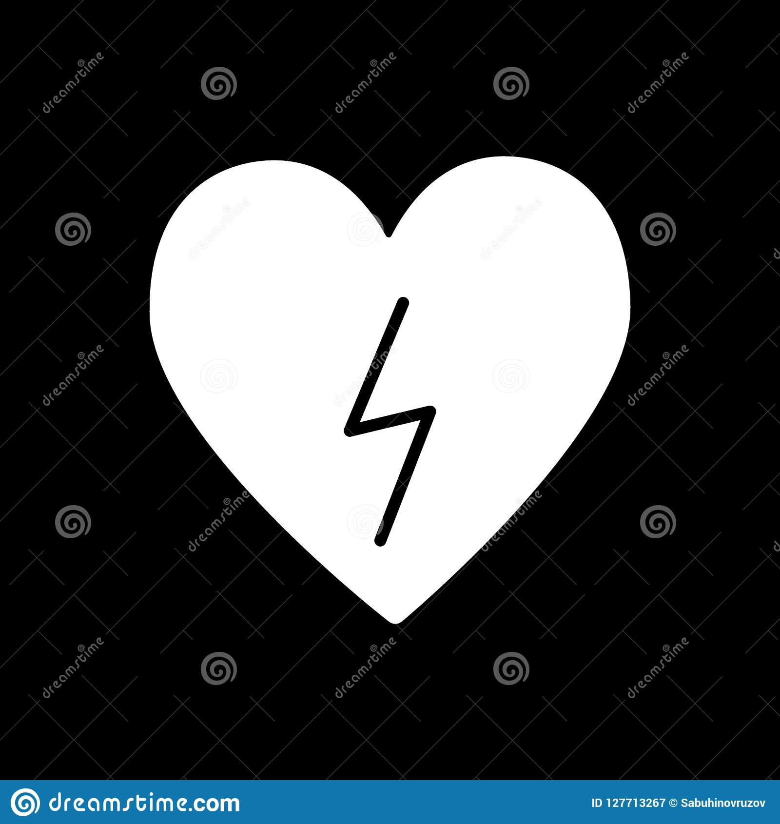 Heart With Lightning Solid Icon Heart With Lightning Bolt Vector Illustration Isolated On Black Defibrillator Glyph Stock Vector Illustration Of Cardiology Concept 127713267