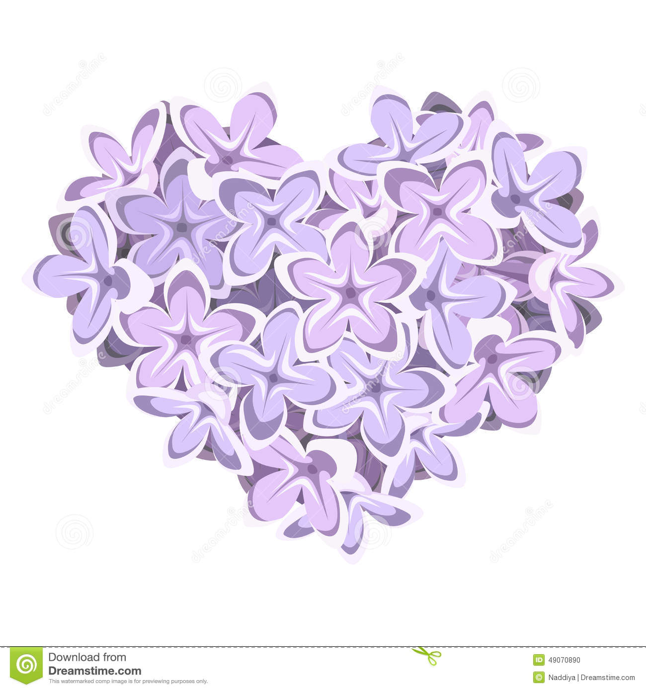 Heart Of Lilac Flowers. Vector Illustration. Stock Vector