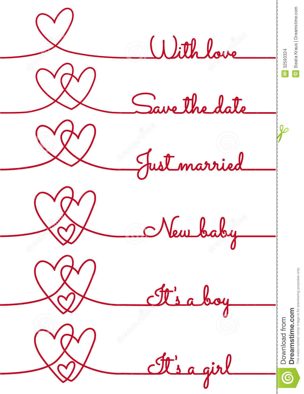 heart line drawing with text for cards vector stock vector