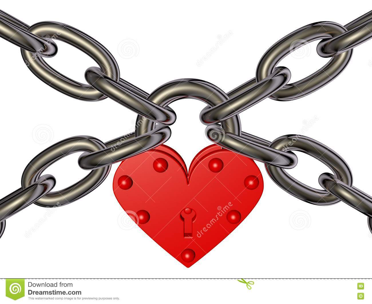 Heart - lock and chain stock illustration. Image of bronze ...
