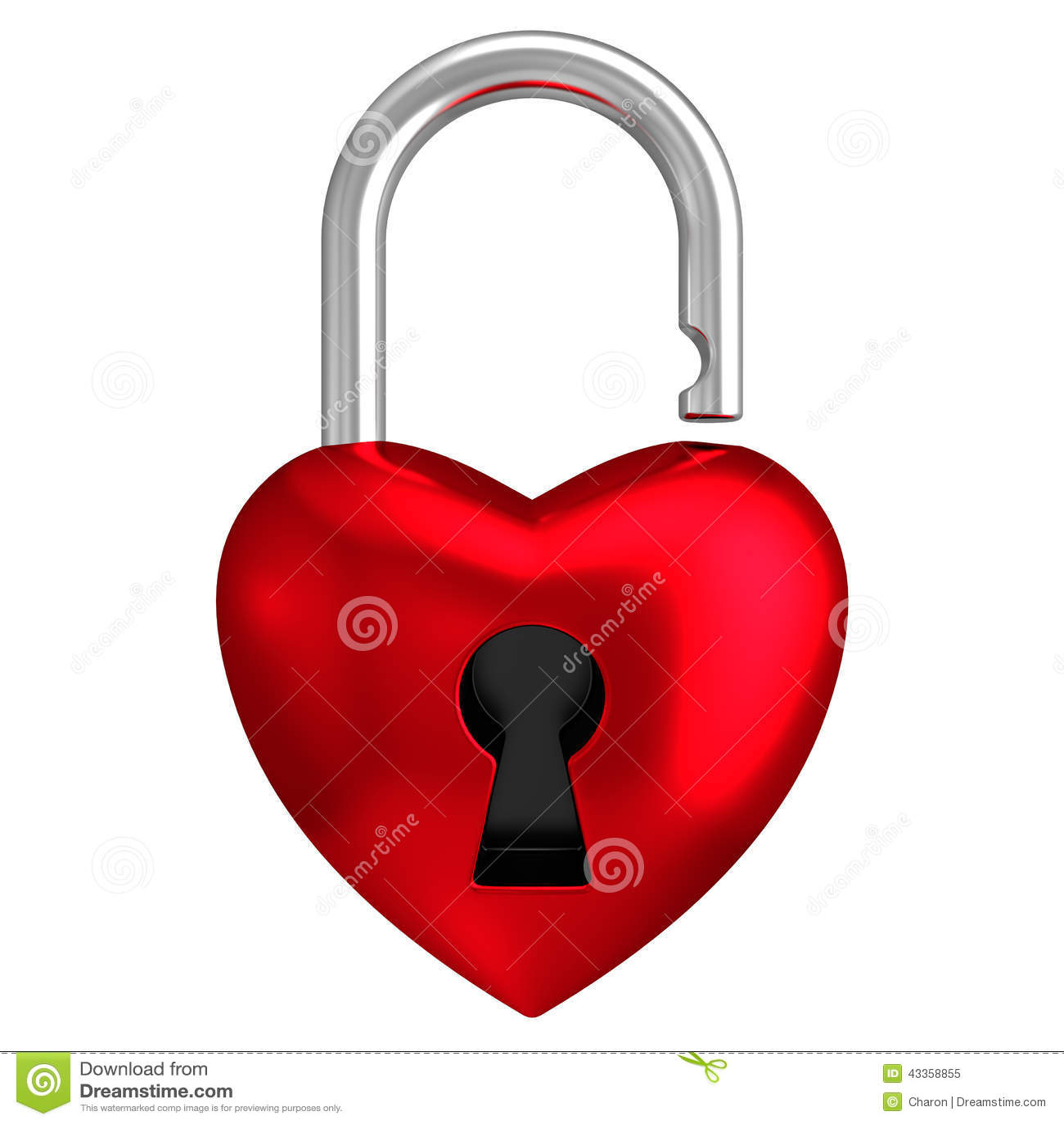 Heart lock isolated white background