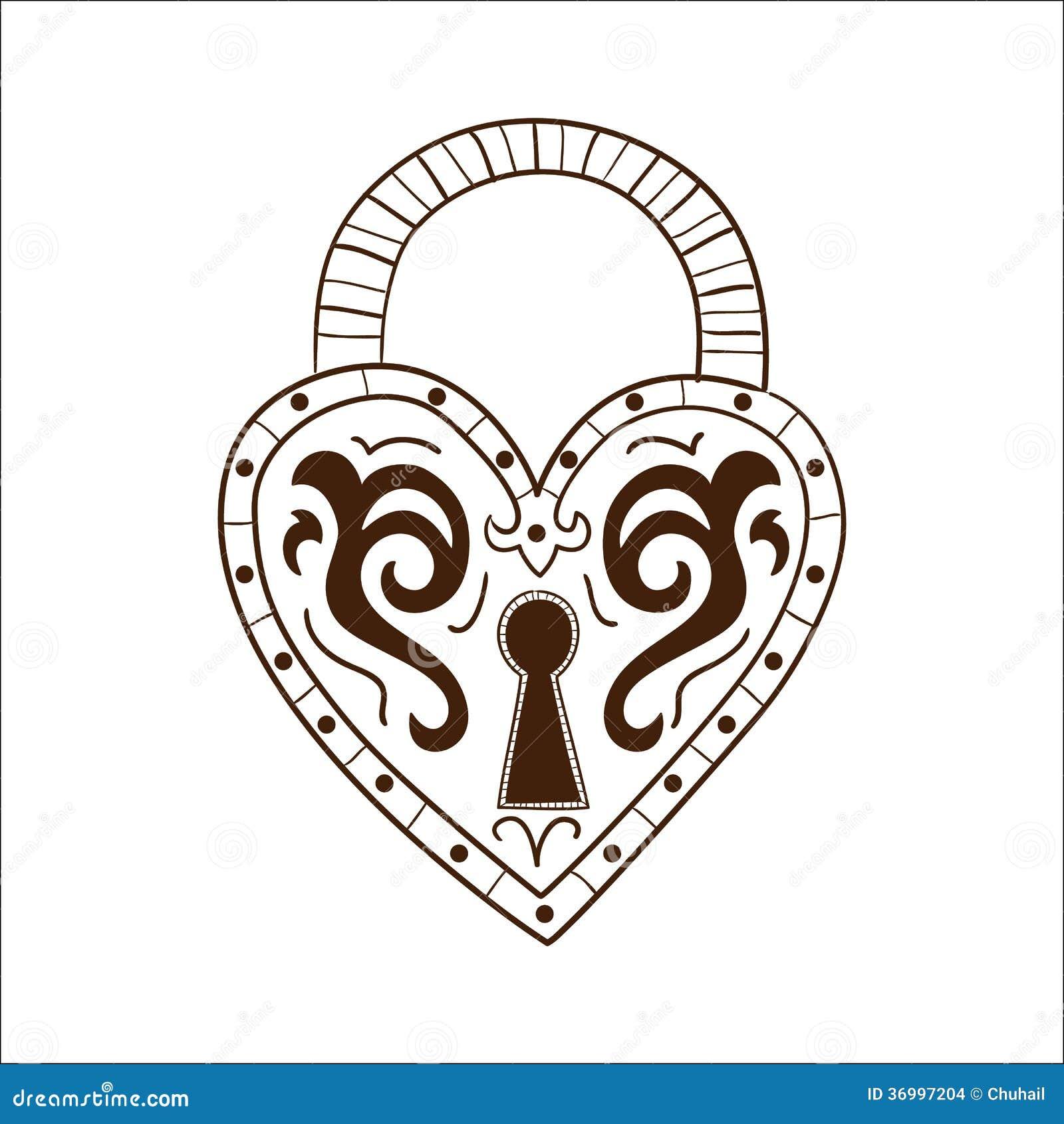 Heart Lock Isolated On White. Stock Images - Image: 36997204