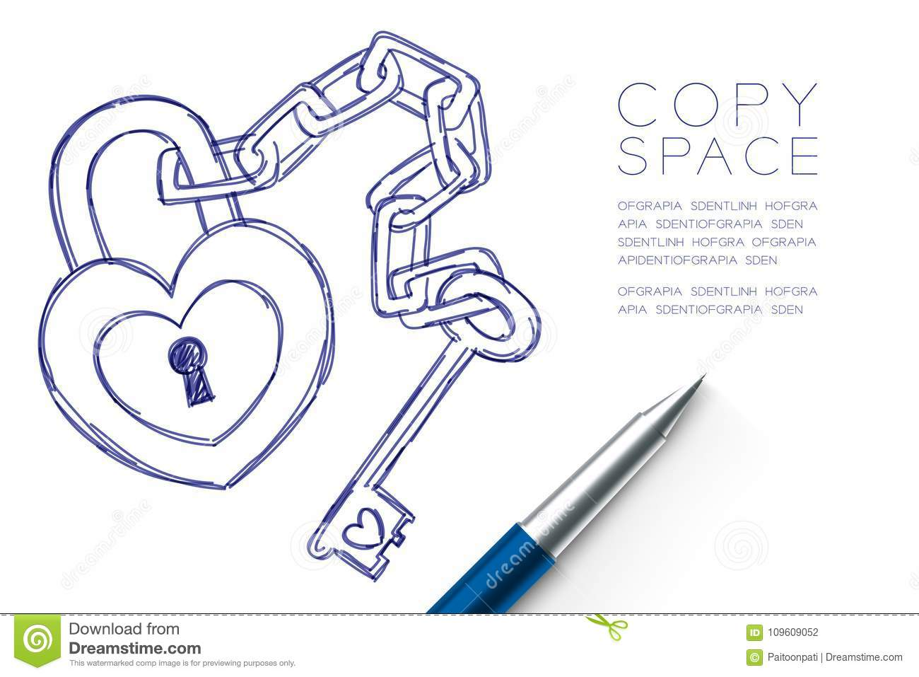 Heart lock and key chain love couple symbol hand drawing by pen heart lock and key chain love couple symbol hand drawing by pen sketch blue color valentine concept design biocorpaavc Images