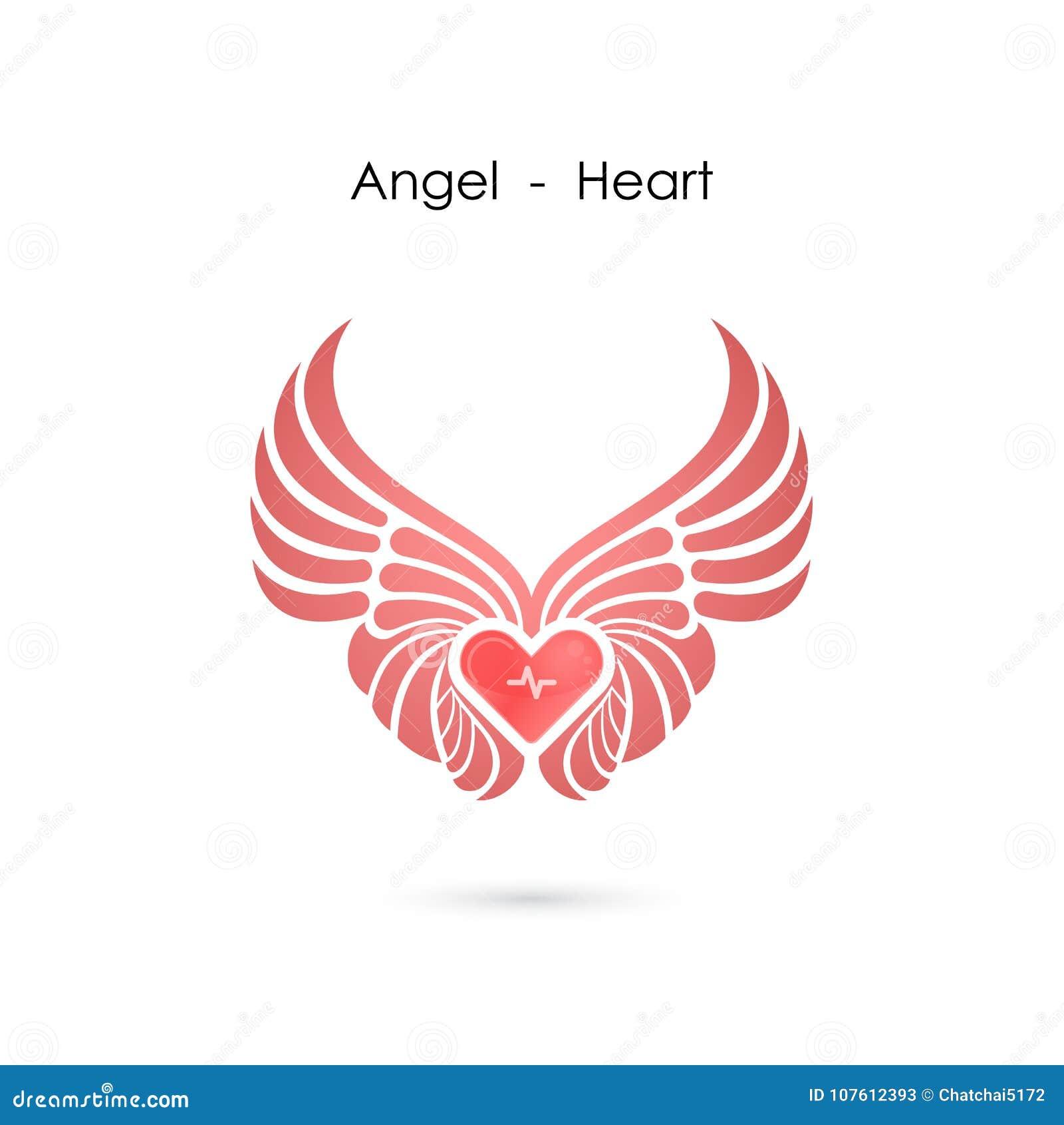 Heart Logo With Angel Wings Logo Design Templatelove Symboll