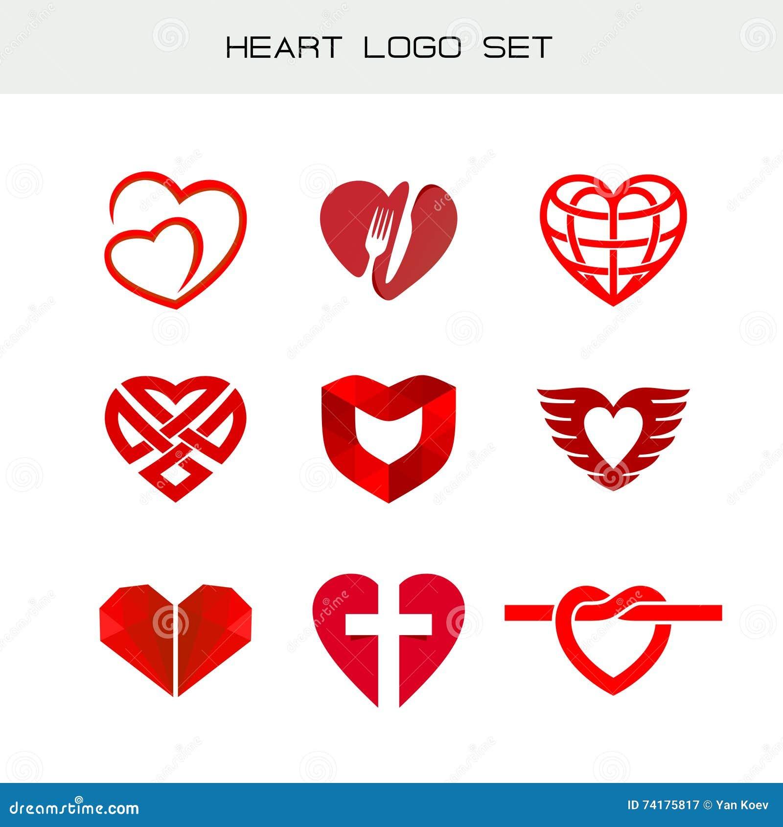 Heart Logo Set Red Heart Symbols Stock Vector Illustration Of
