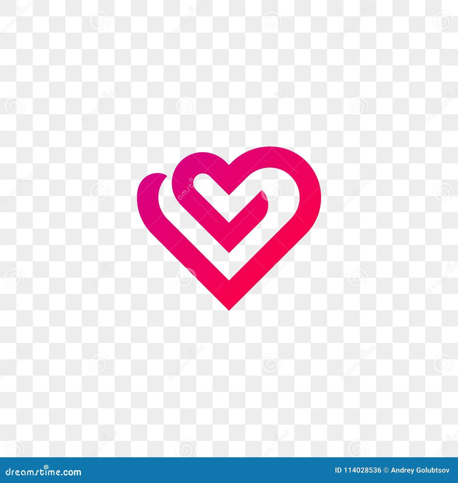 Heart Logo Vector Line Flat Web App Icon Stock Vector