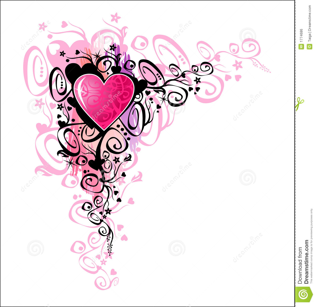 Heart Of Love. Corner Royalty Free Stock Image - Image ...