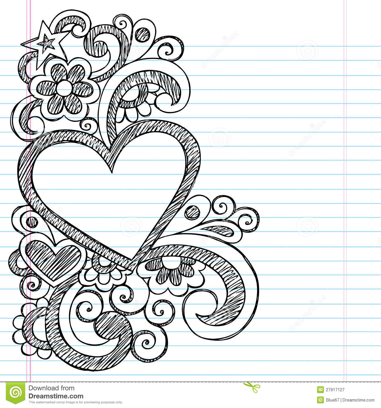 Heart Love Frame Sketchy Doodle Vector Design Stock Vector