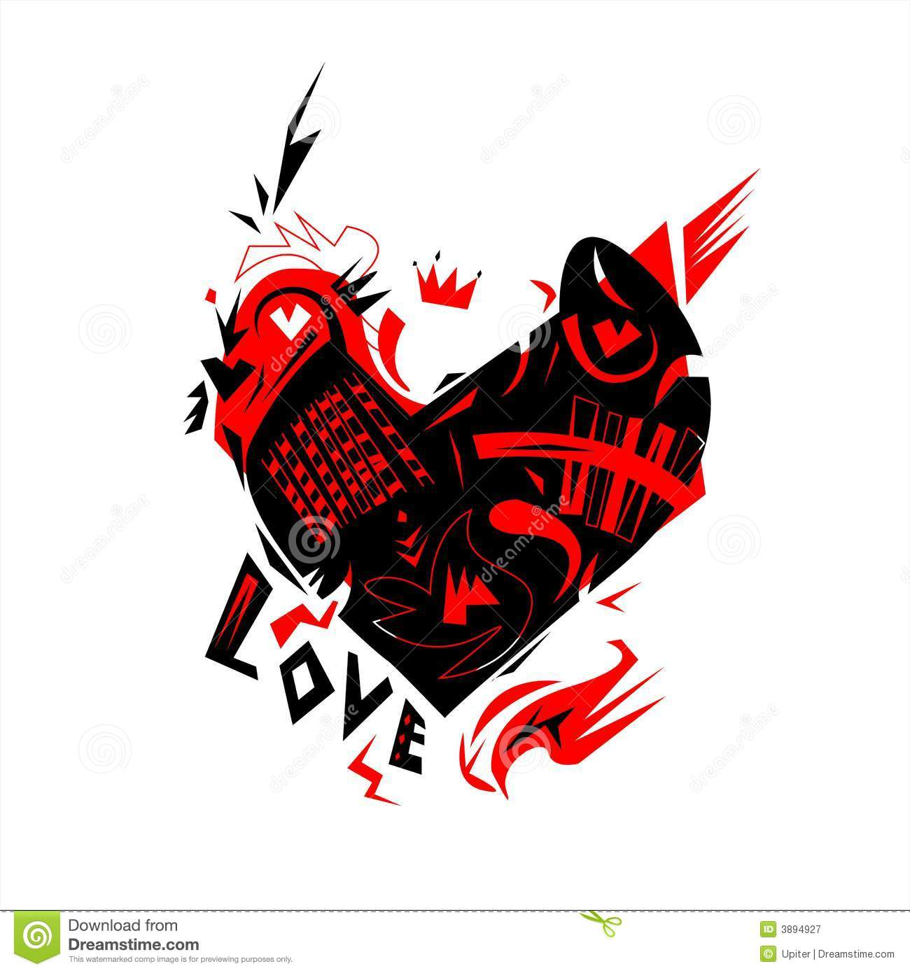 Heart, Love And Rock-n-roll Royalty Free Stock Photography - Image ...