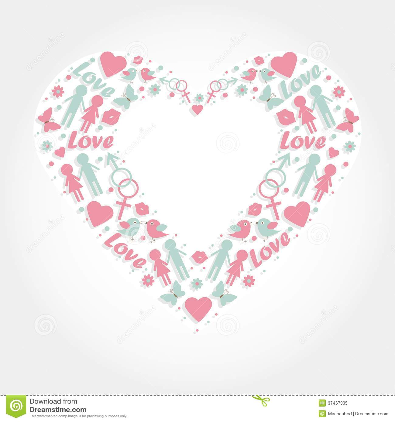 Heart with love symbols stock vector. Illustration of love - 37467335
