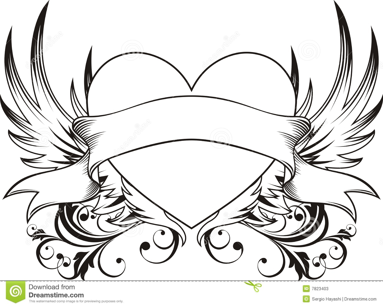 Heart Love Tattoo Stock Vector Image Of Drawing Decoration 7823403