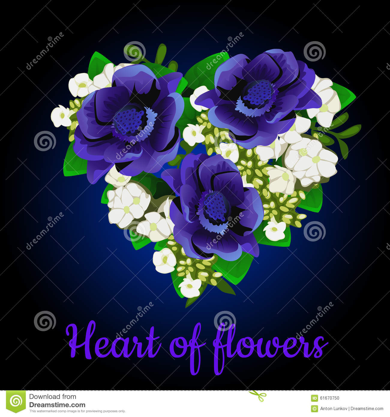 Heart made of blue flowers and apple flowers stock vector for How are blue roses made