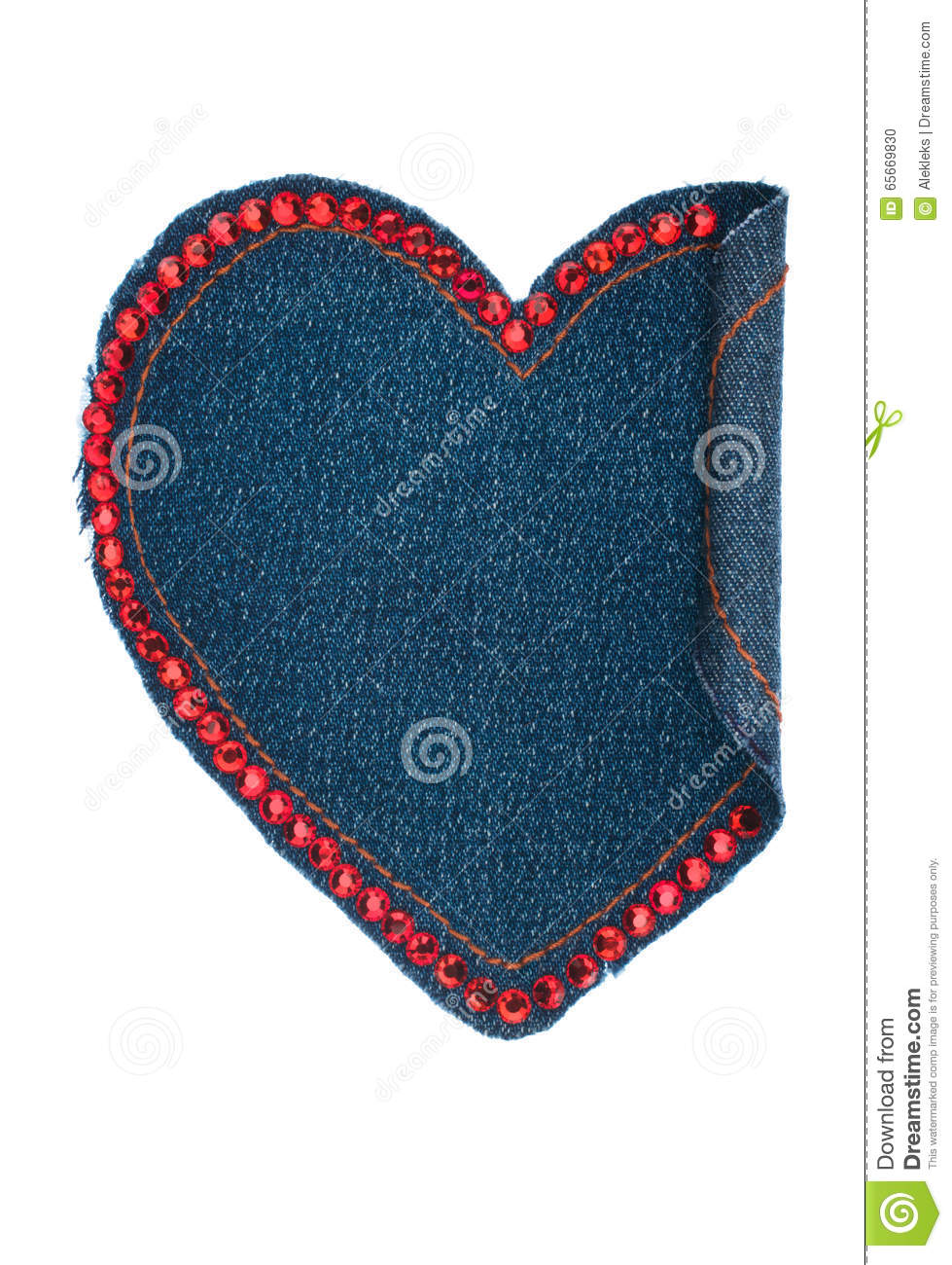 Heart made of denim fabric with yellow stitching and red for Space made of fabric