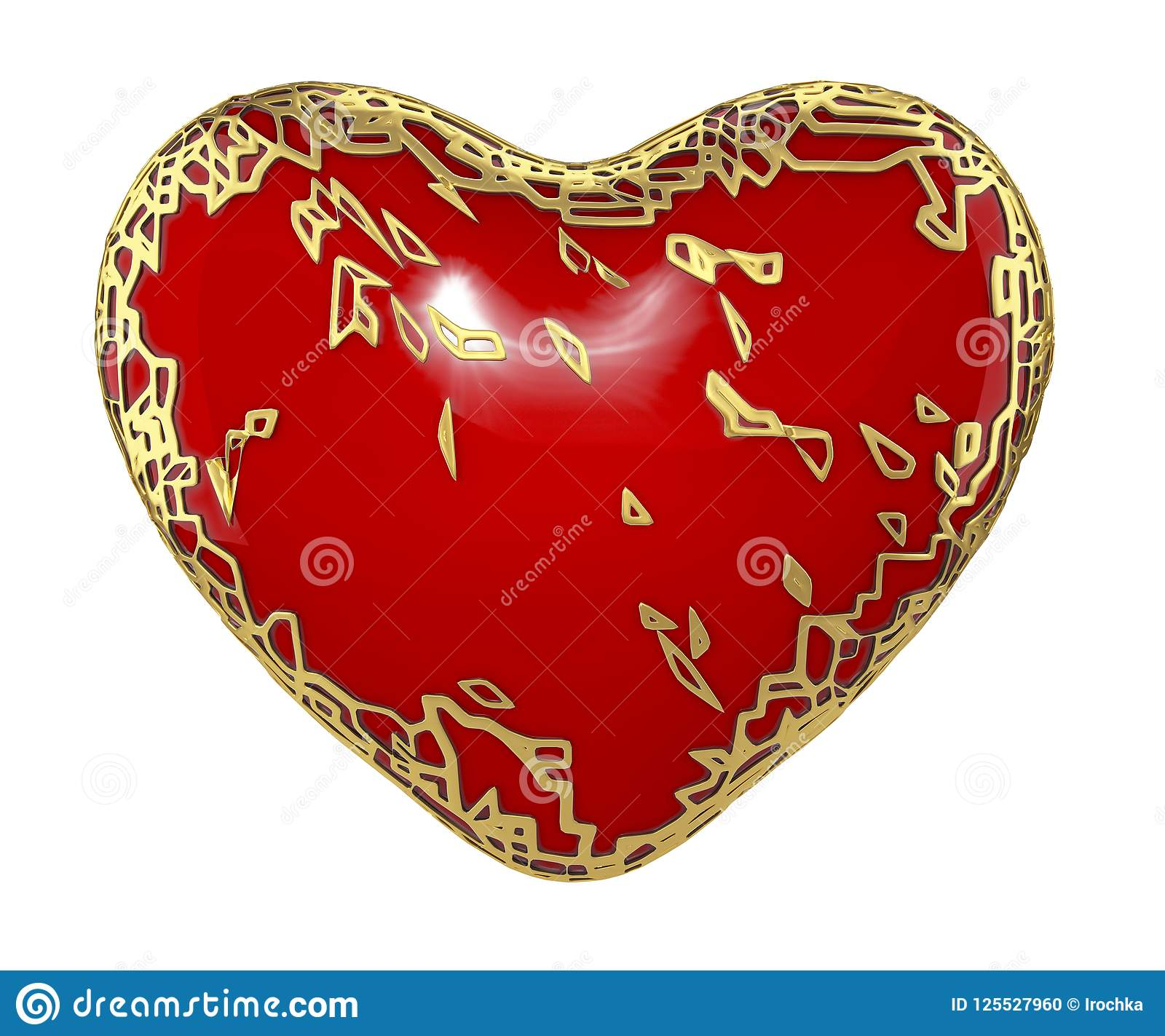 Download Heart Made In Golden Shining Metallic 3D With Red Paint On White Background. Stock Illustration - Illustration of beautiful, heart: 125527960