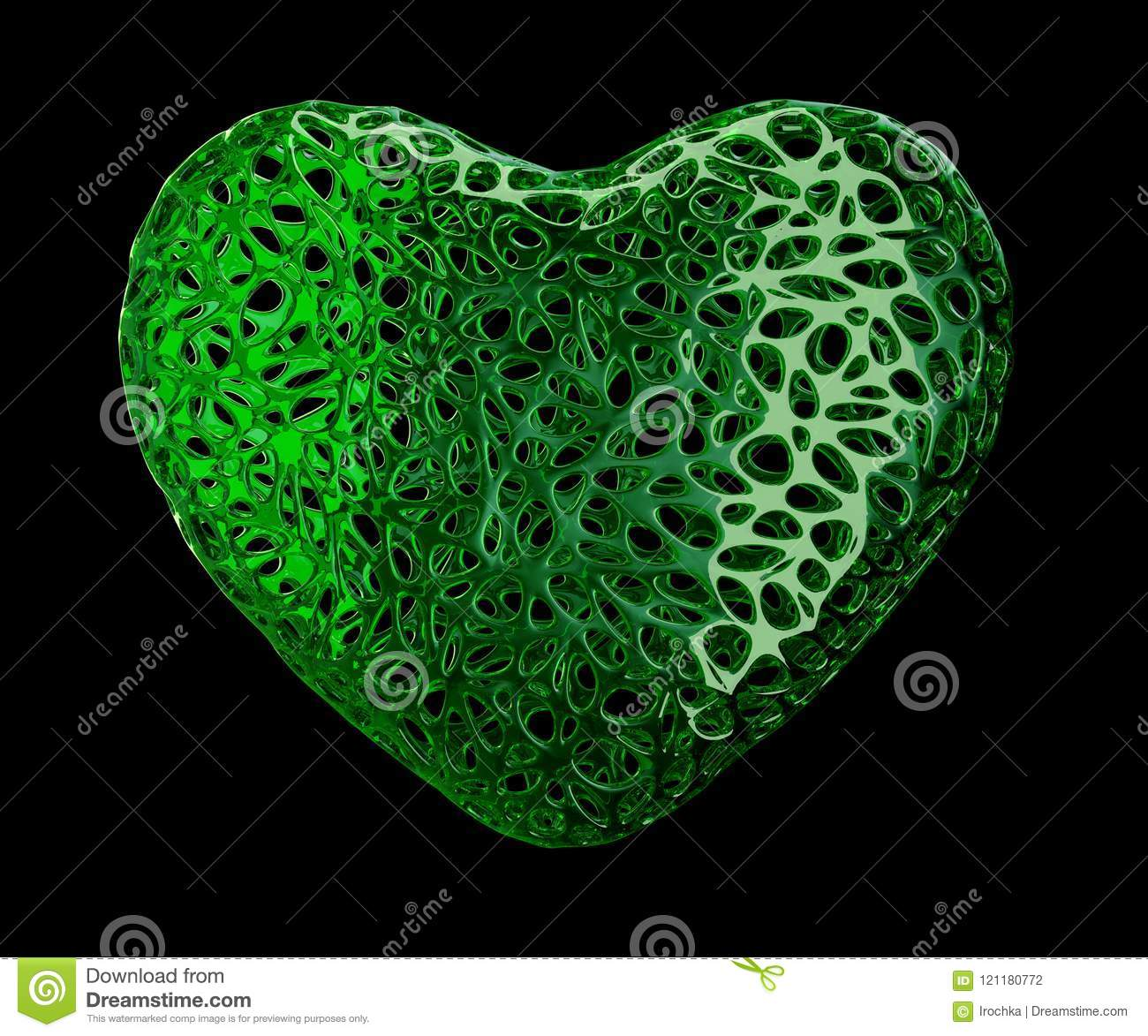 Heart made of green plastic with abstract holes isolated on black background. 3d