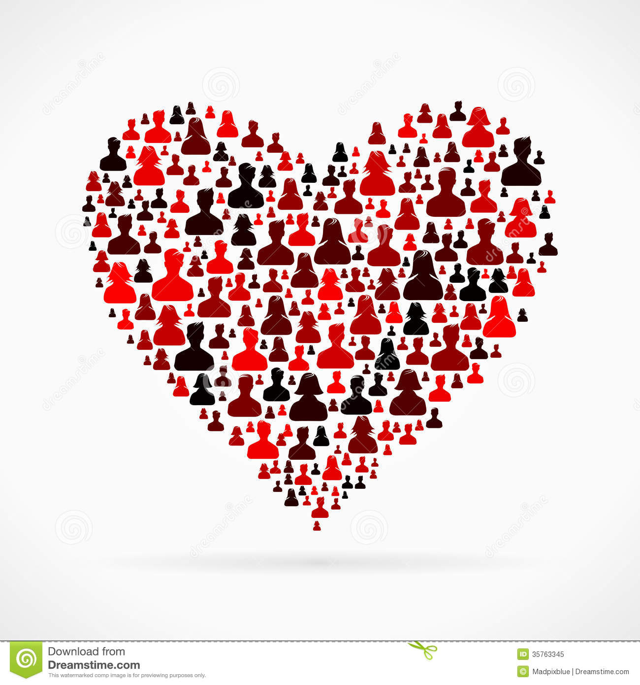 Heart made out of large group of people silhouettes.
