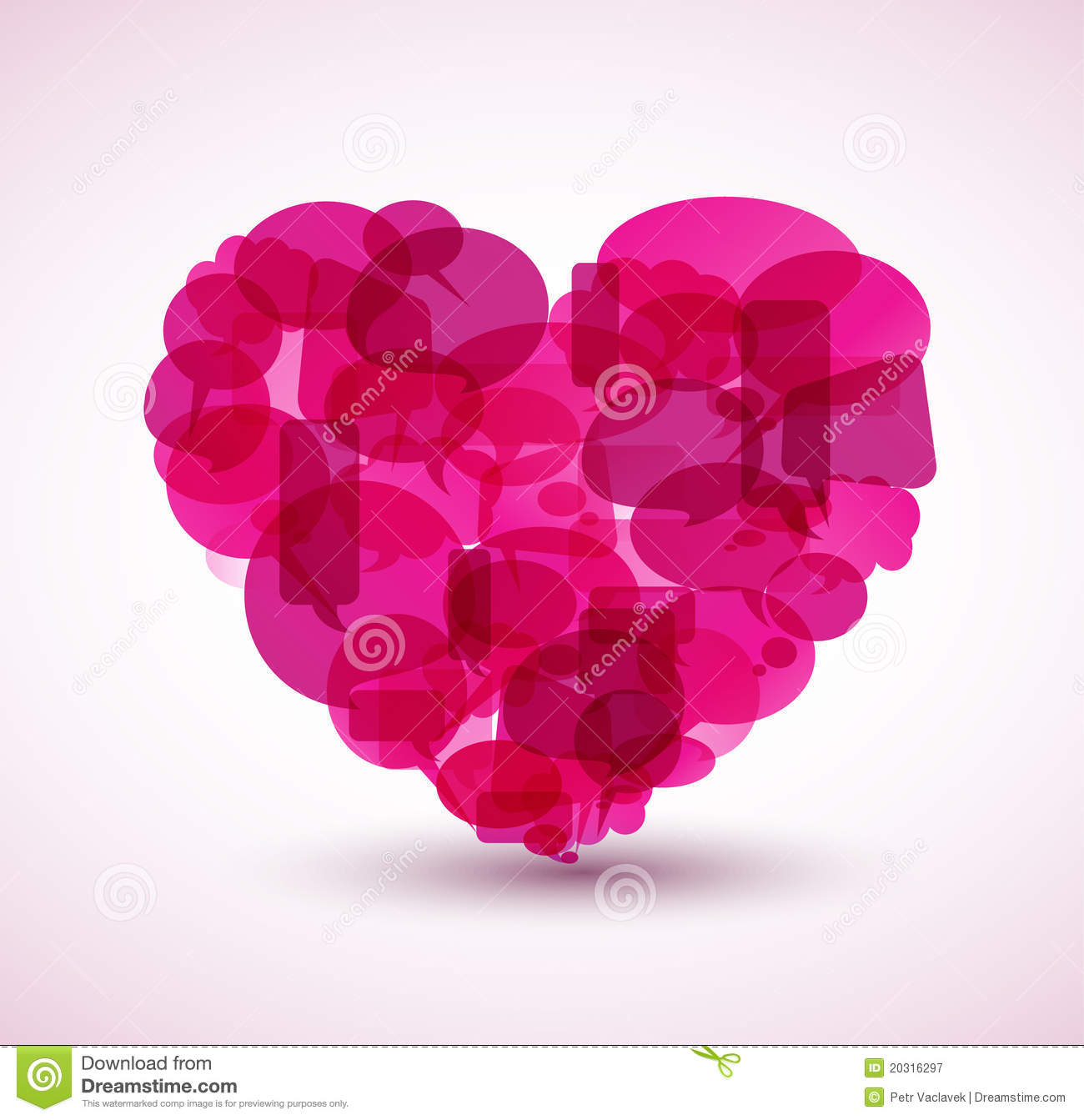 Heart Made From Pink Cartoon Bubbles Royalty Free Stock