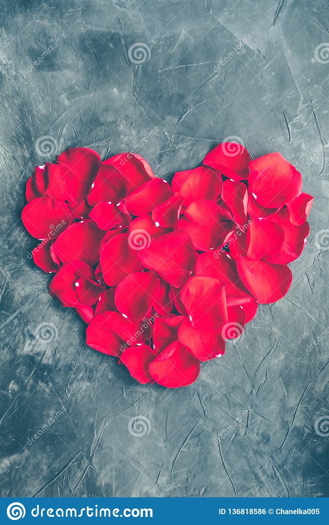 Heart made of red petals