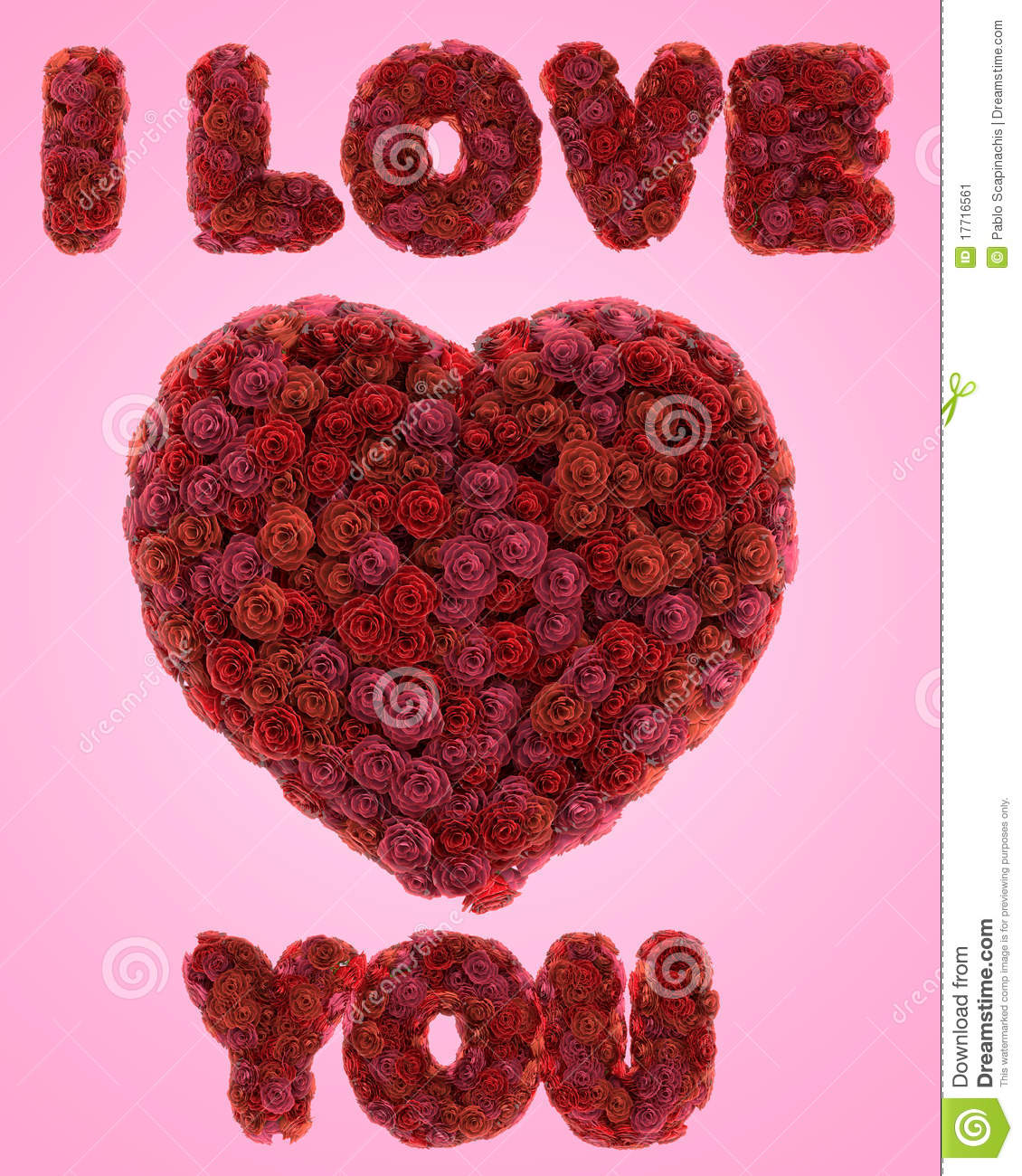 Heart and i love you text made of red roses isolated on pink ...