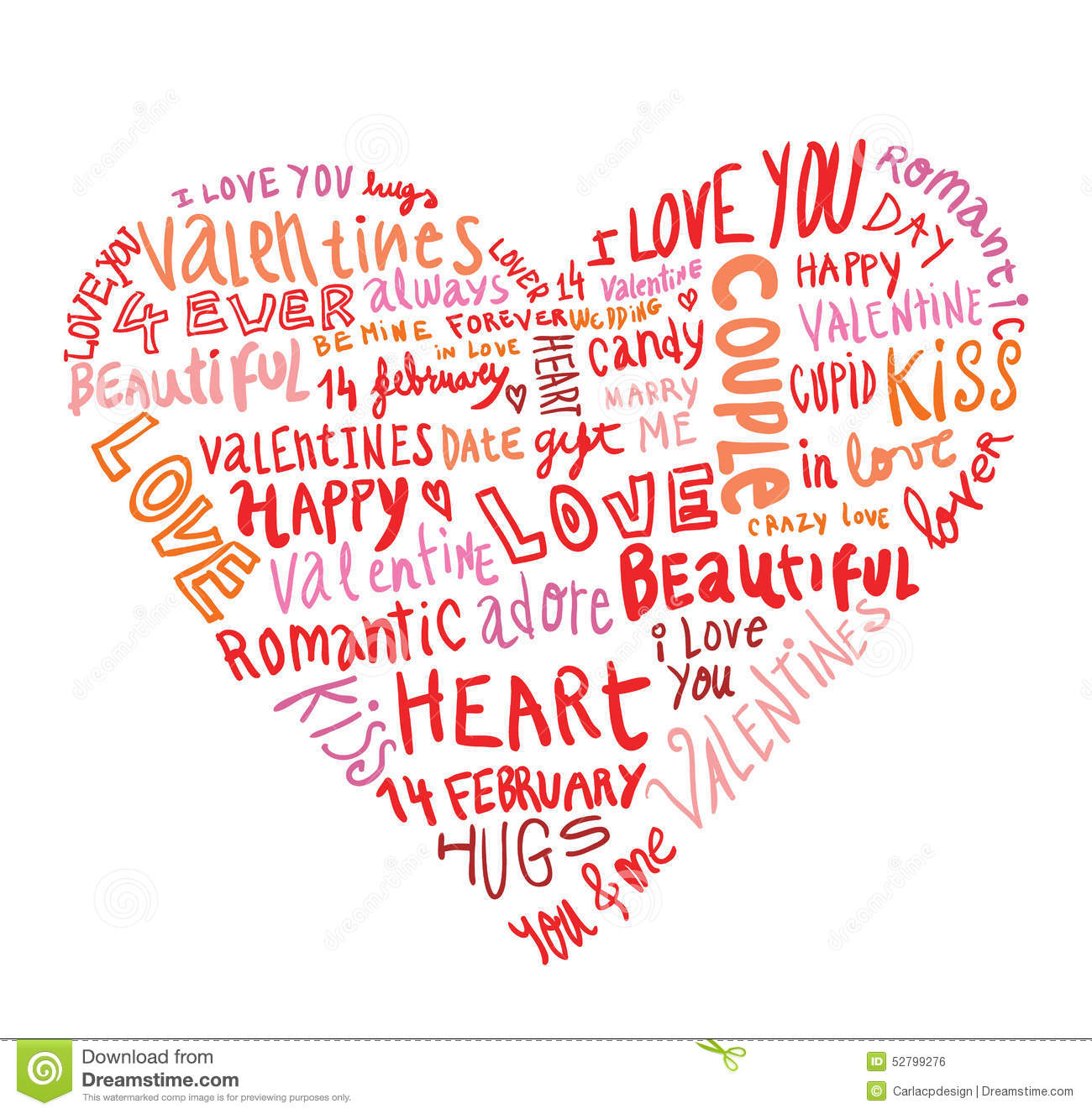 Heart Made Of Words Love, Vector Illustration. Stock ...