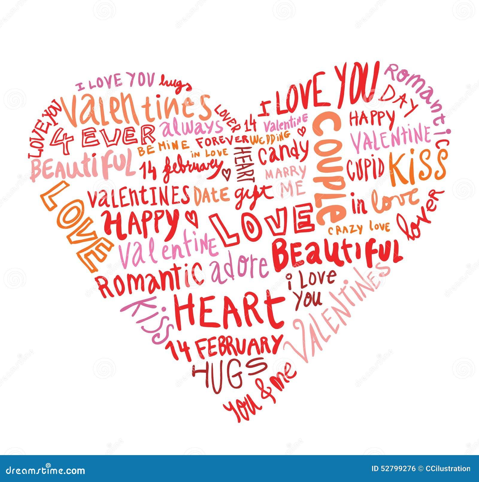 Открытка сердце из слов 50