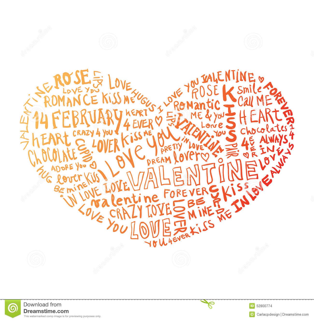 Heart made of words Love, vector illustration