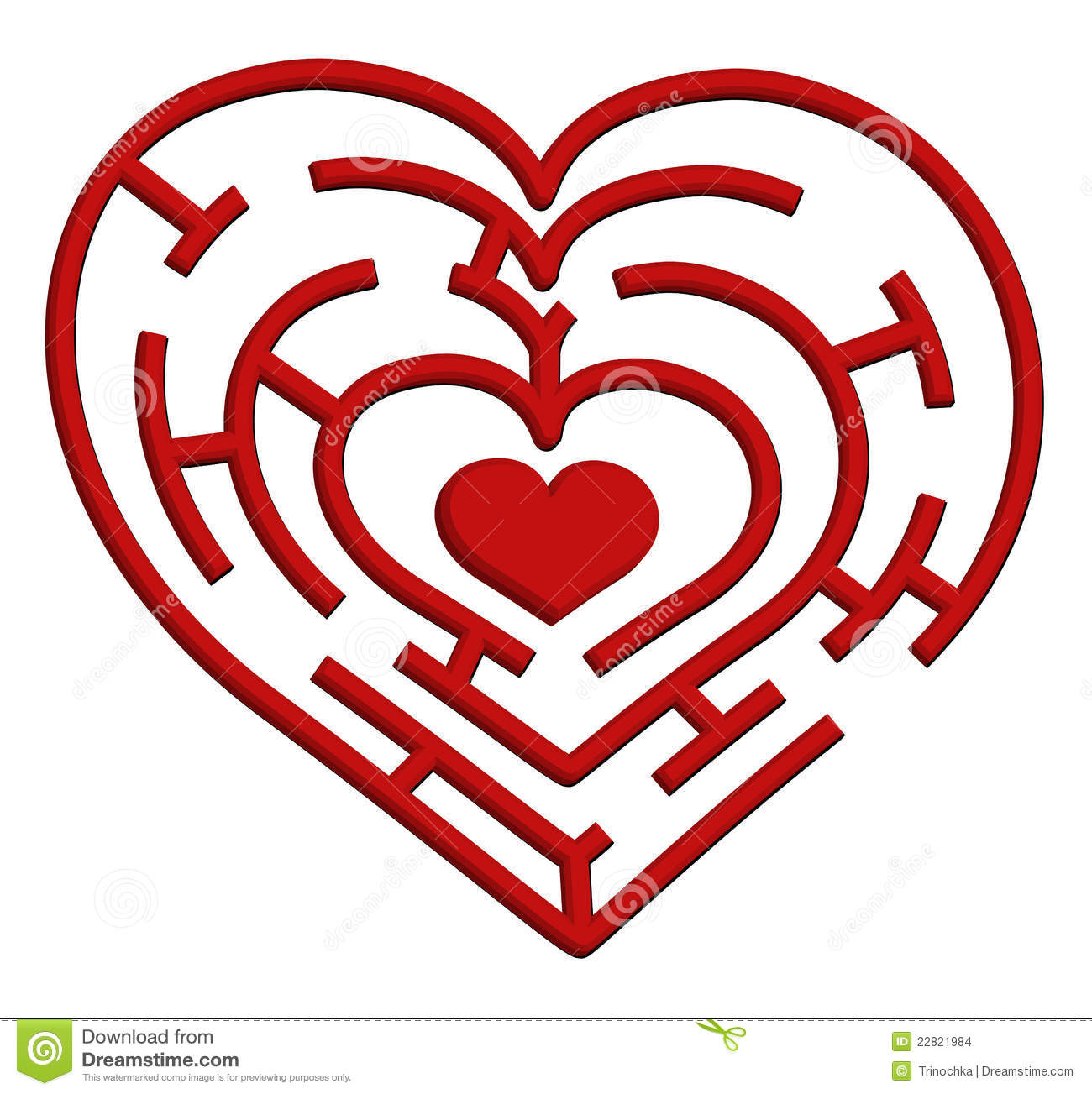 Vector illustration of a heart maze. Valentines Day theme.