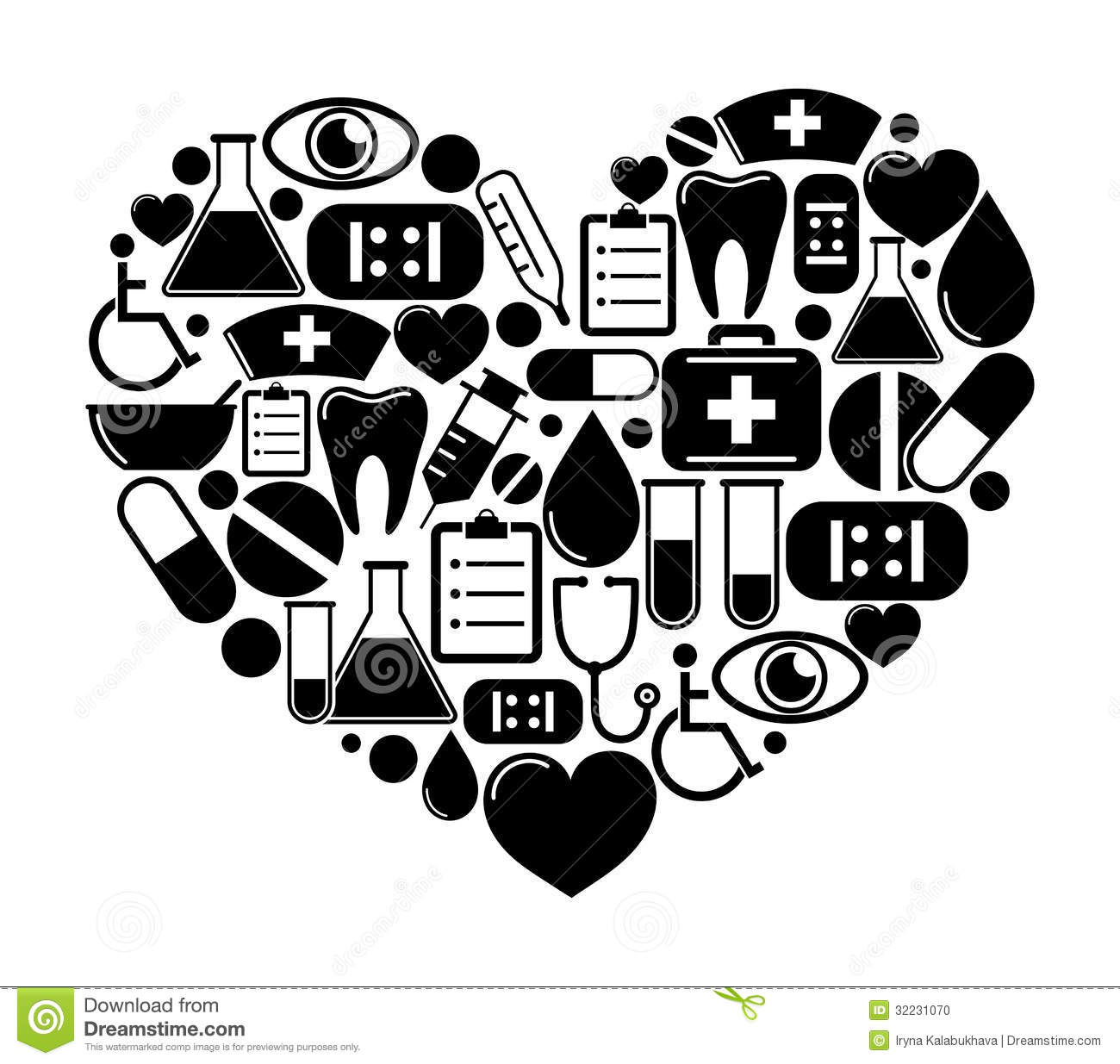 Heart Of Medical Icons Stock Photo Image 32231070