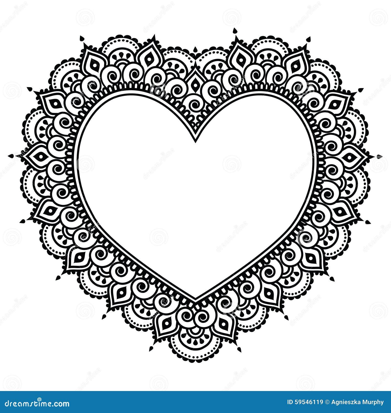 Heart Mehndi Design, Indian Henna Tattoo Pattern - Love Concept Stock ...