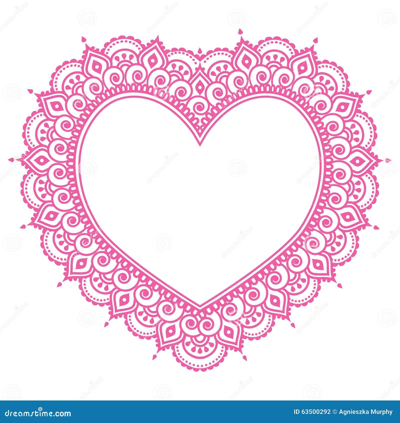 Heart Mehndi Pink Design, Indian Henna Tattoo Pattern ...